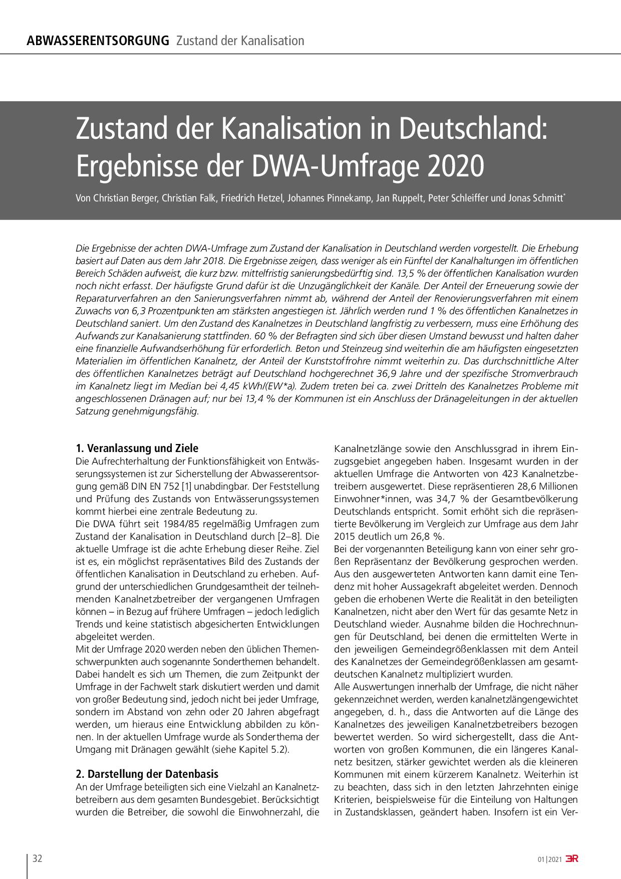 Zustand der Kanalisation in Deutschland: Ergebnisse der DWA-Umfrage 2020