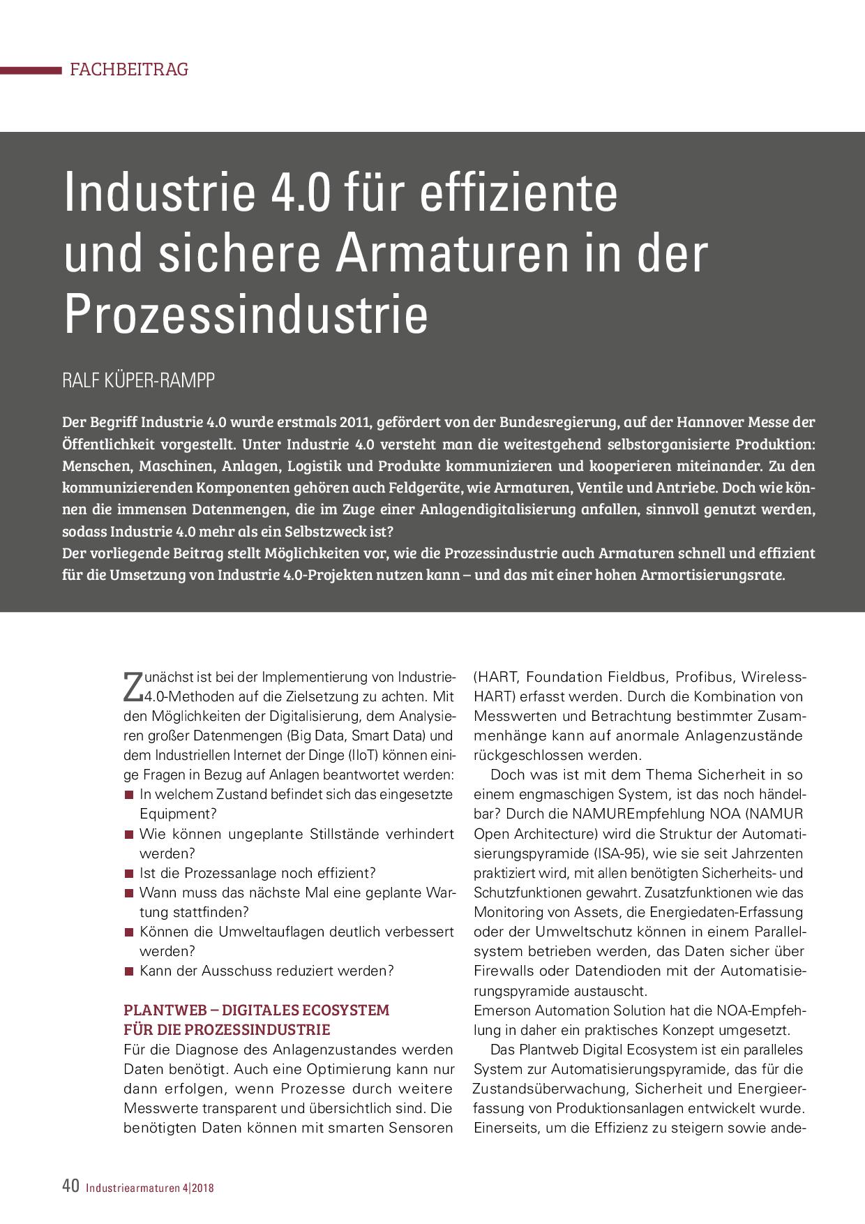 Industrie 4.0 für effiziente und sichere Armaturen in der Prozessindustrie