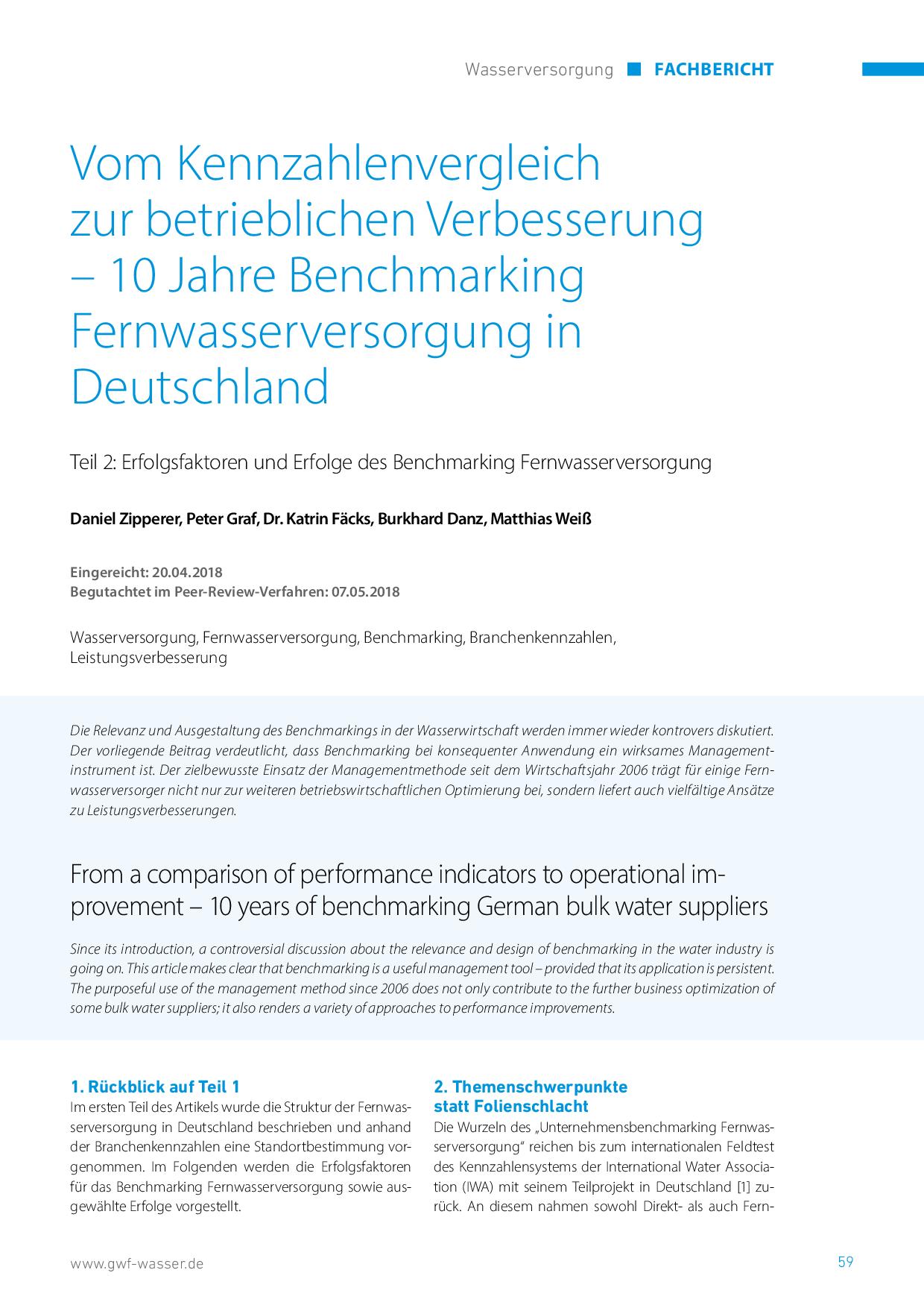 Vom Kennzahlenvergleich zur betrieblichen Verbesserung – 10 Jahre Benchmarking Fernwasserversorgung in Deutschland
