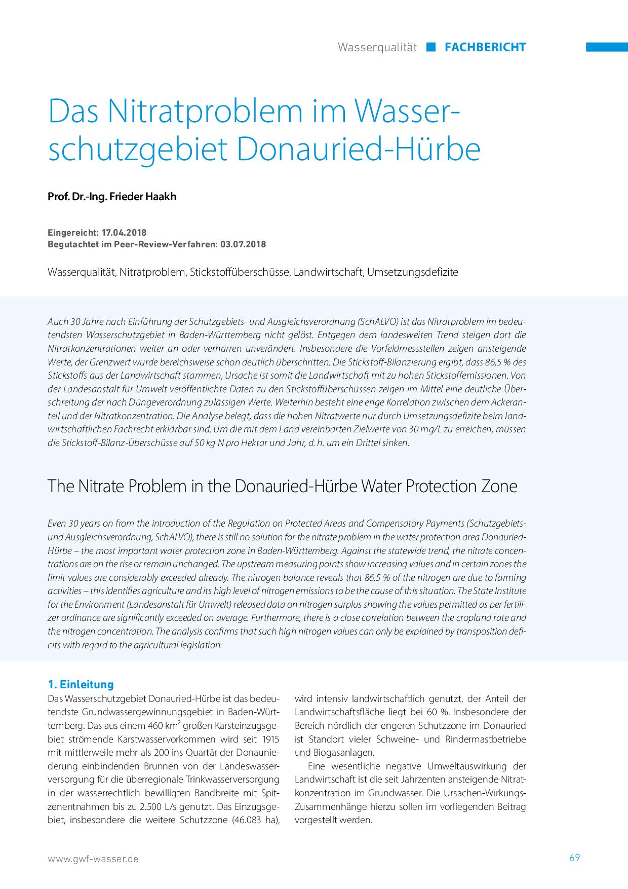 Das Nitratproblem im Wasserschutzgebiet Donauried-Hürbe