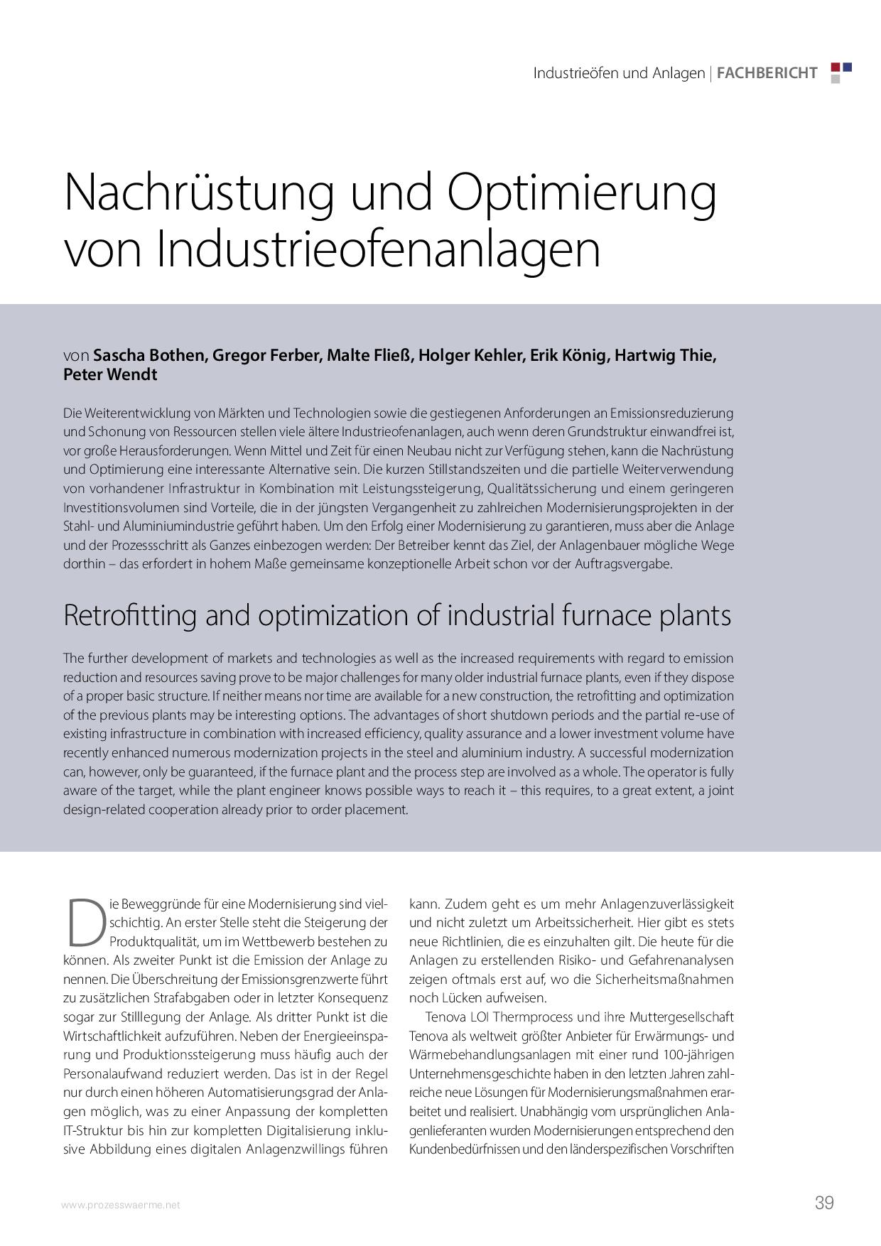 Nachrüstung und Optimierung von Industrieofenanlagen