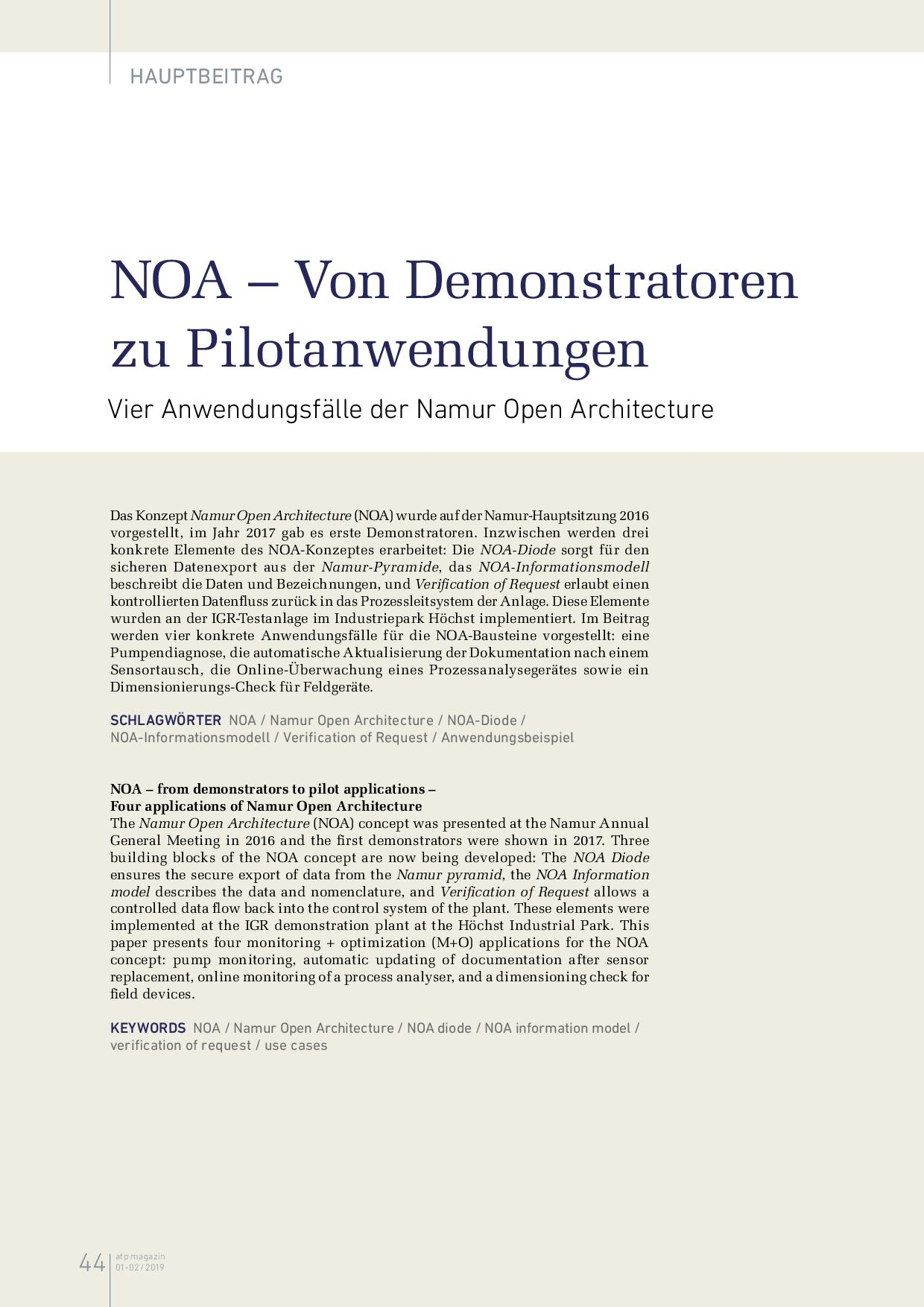 NOA – Von Demonstratoren zu Pilotanwendungen