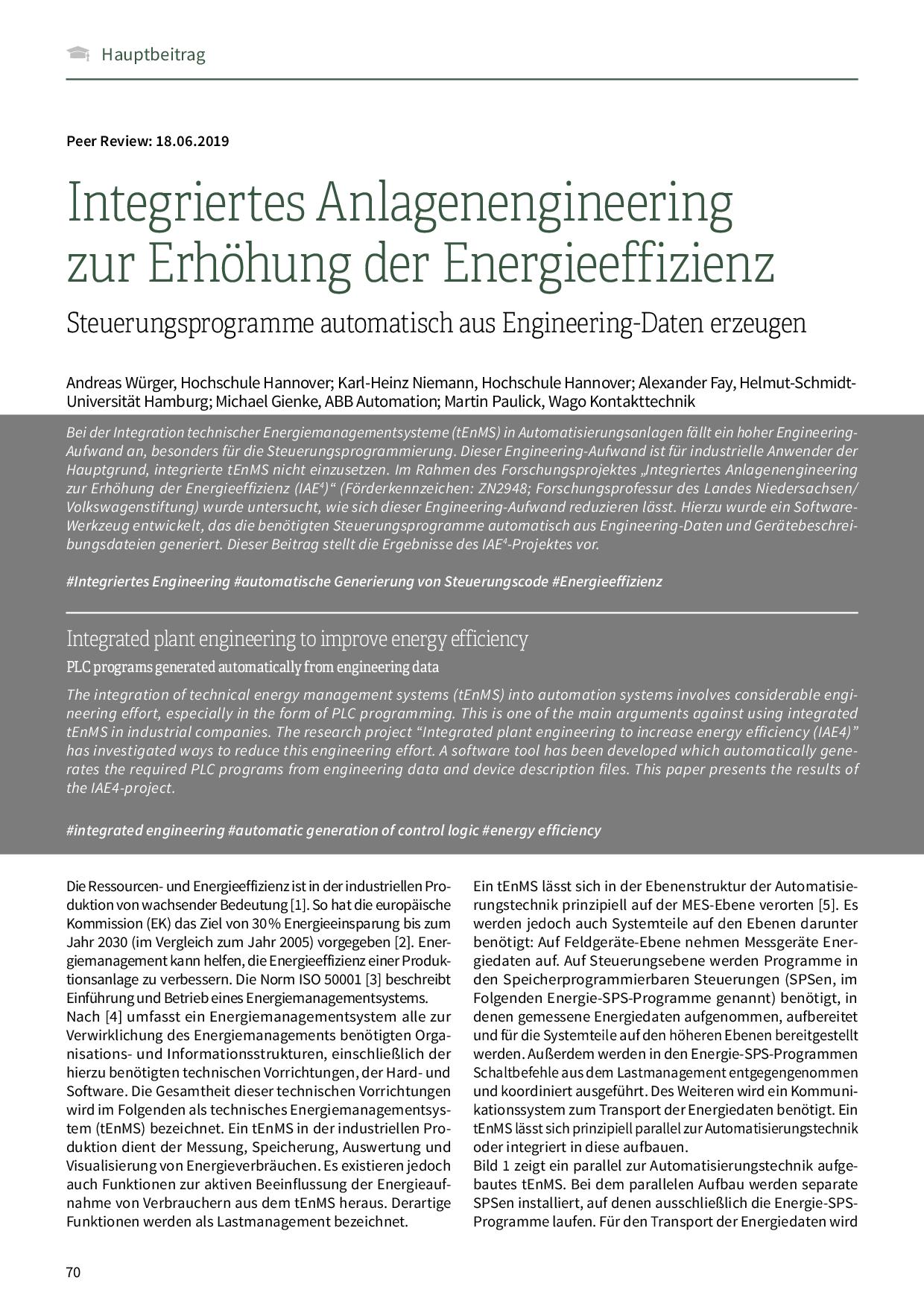 Integriertes Anlagenengineering zur Erhöhung der Energieeffizienz