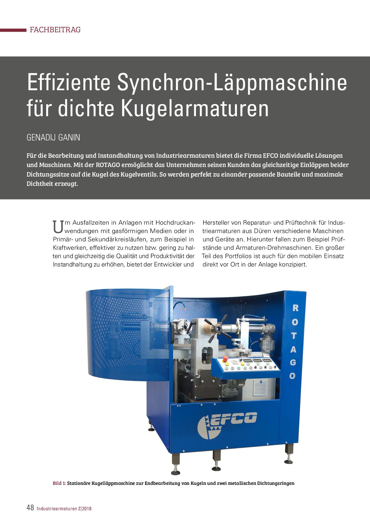 Effiziente Synchron-Läppmaschine für dichte Kugelarmaturen