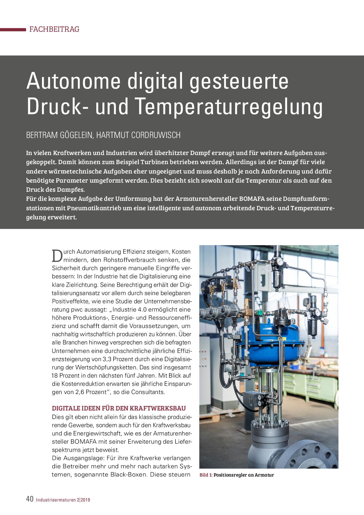 Autonome digital gesteuerte Druck- und Temperaturregelung