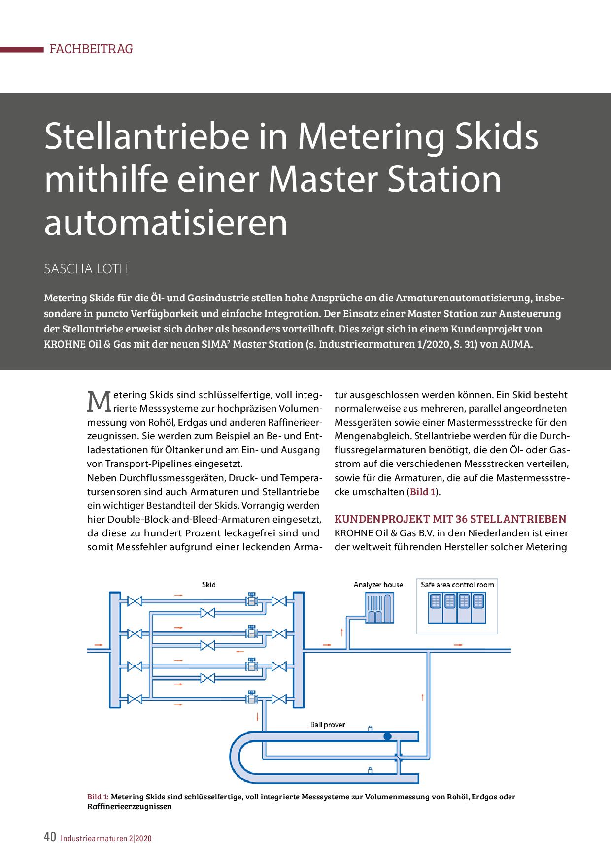 Stellantriebe in Metering Skids mithilfe einer Master Station automatisieren