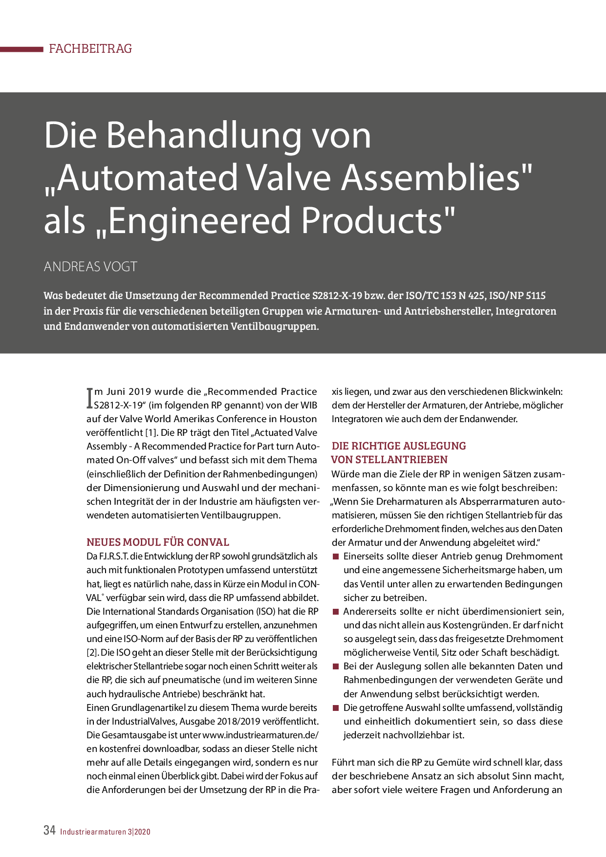 "Die Behandlung von ""Automated Valve Assemblies"" als ""Engineered Products"""