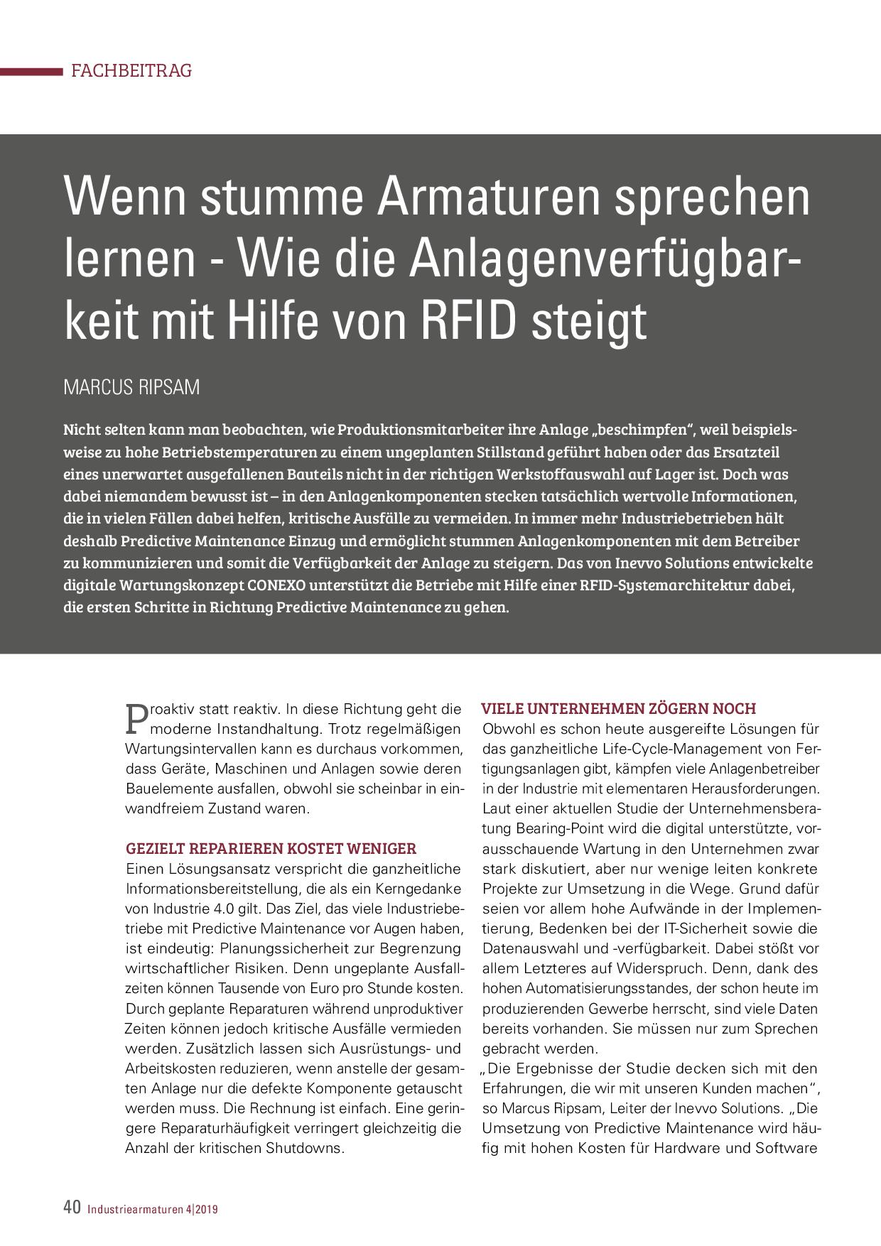 Wenn stumme Armaturen sprechen lernen – Wie die Anlagenverfügbarkeit mit Hilfe von RFID steigt