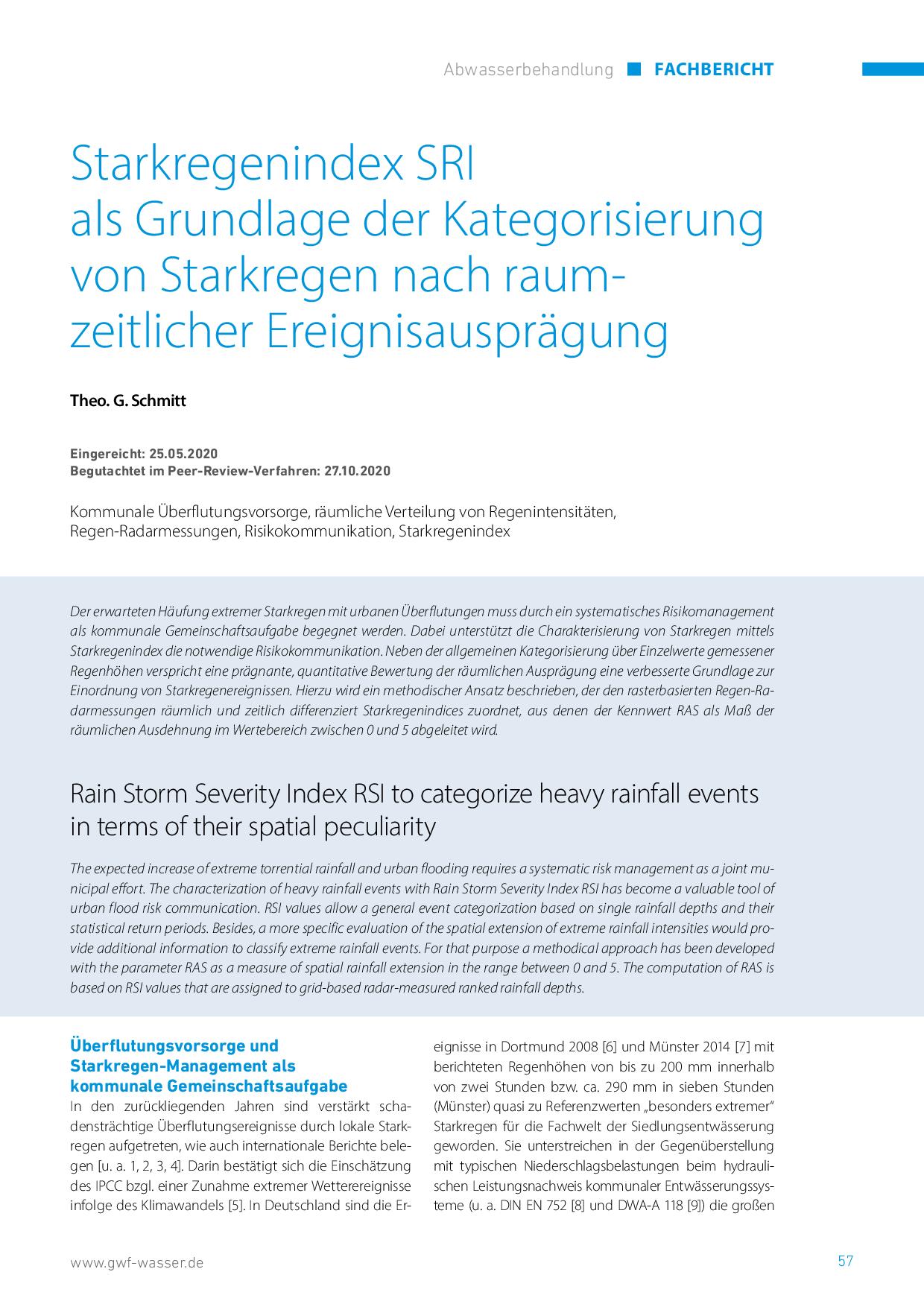 Starkregenindex SRI als Grundlage der Kategorisierung von Starkregen nach raumzeitlicher Ereignisausprägung