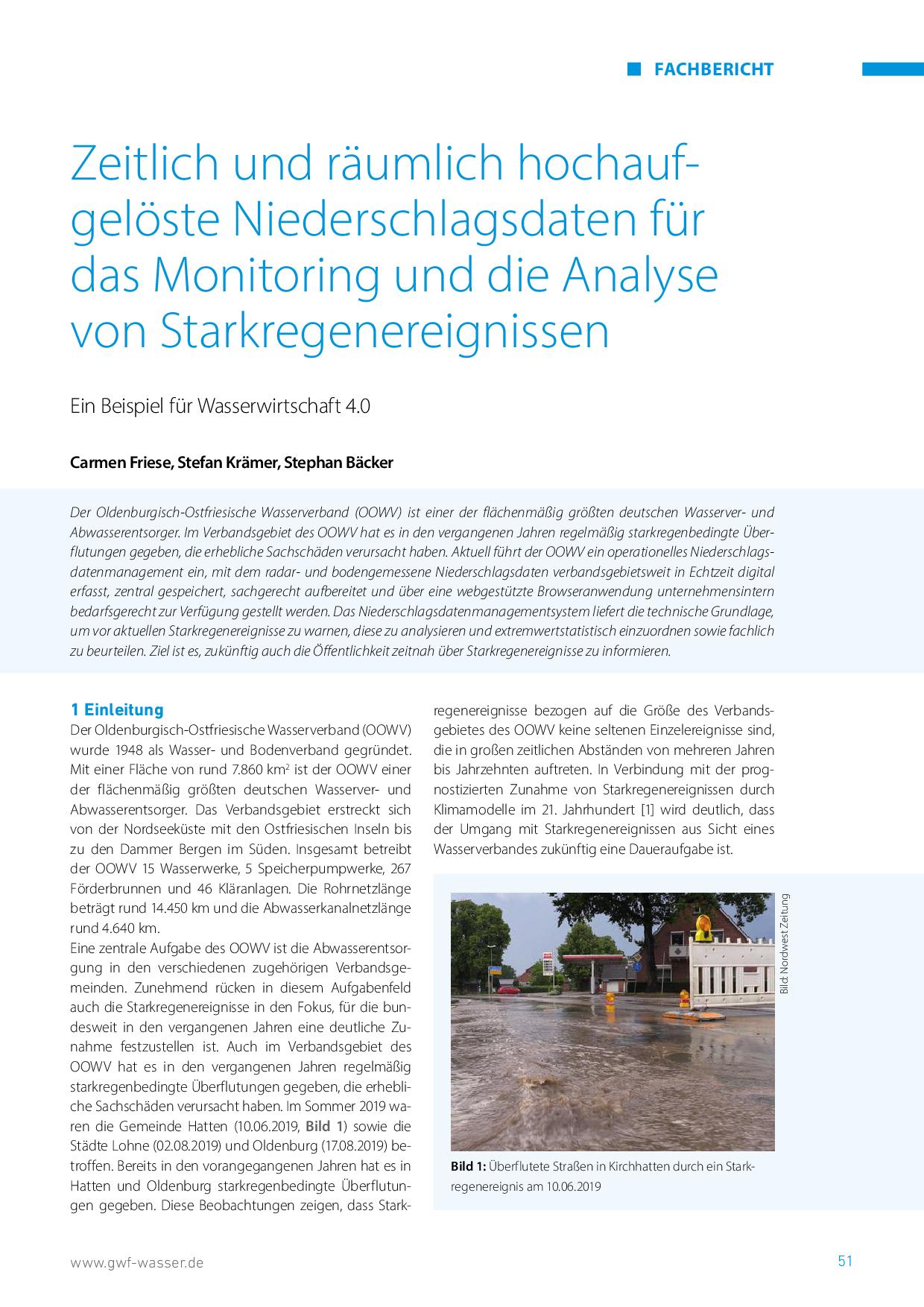 Zeitlich und räumlich hochaufgelöste Niederschlagsdaten für das Monitoring und die Analyse von Starkregenereignissen