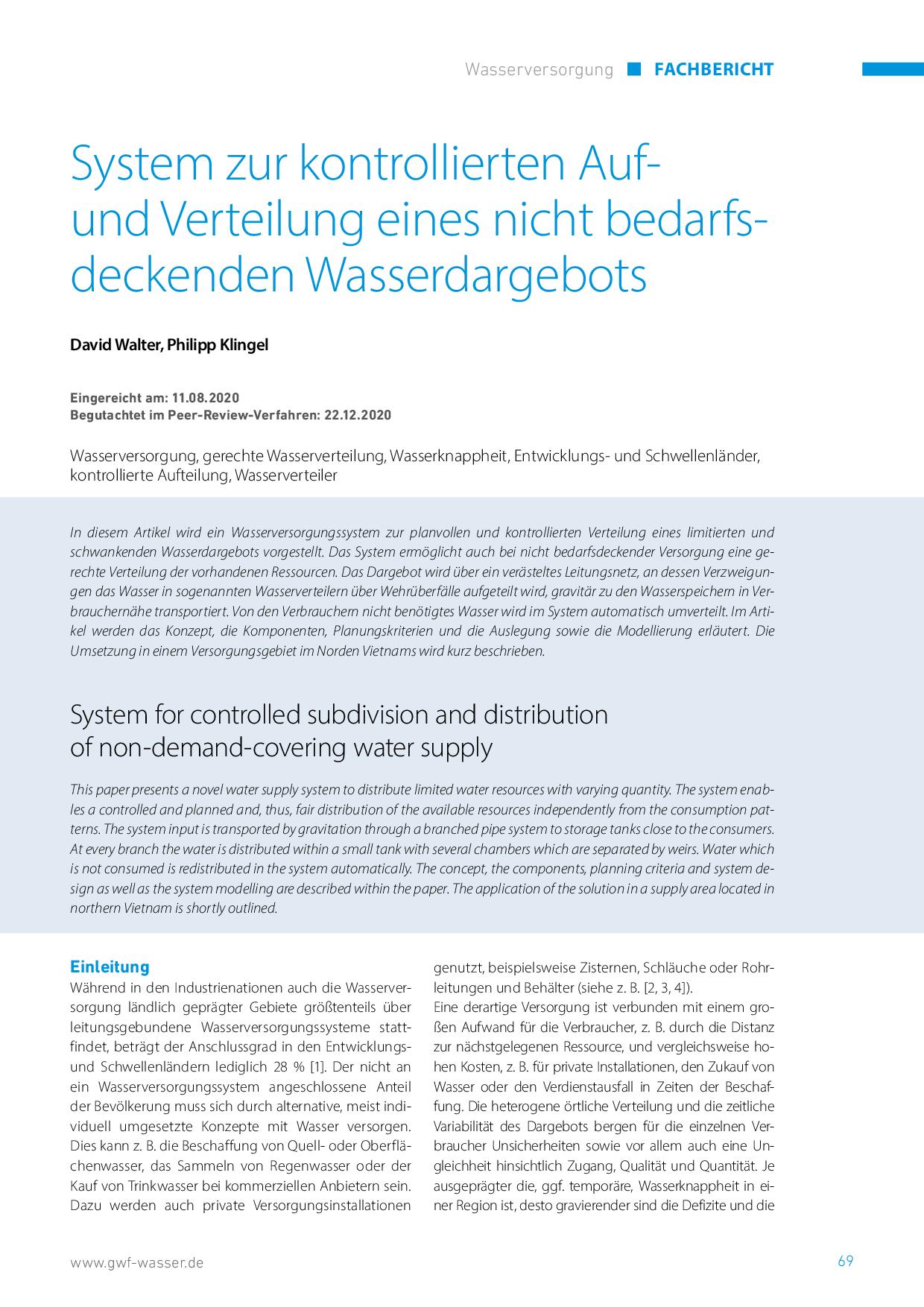 System zur kontrollierten Auf- und Verteilung eines nicht bedarfsdeckenden Wasserdargebots