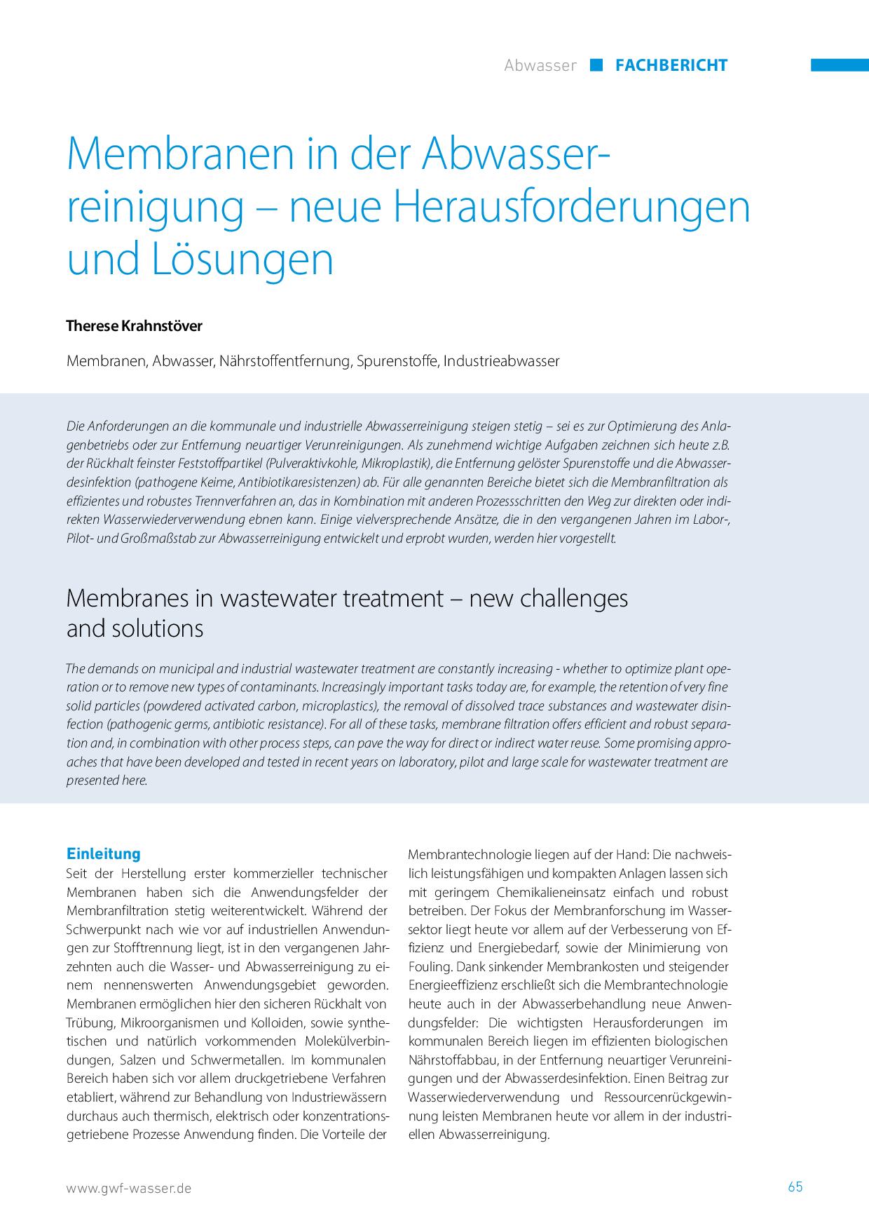 Membranen in der Abwasserreinigung – neue Herausforderungen und Lösungen