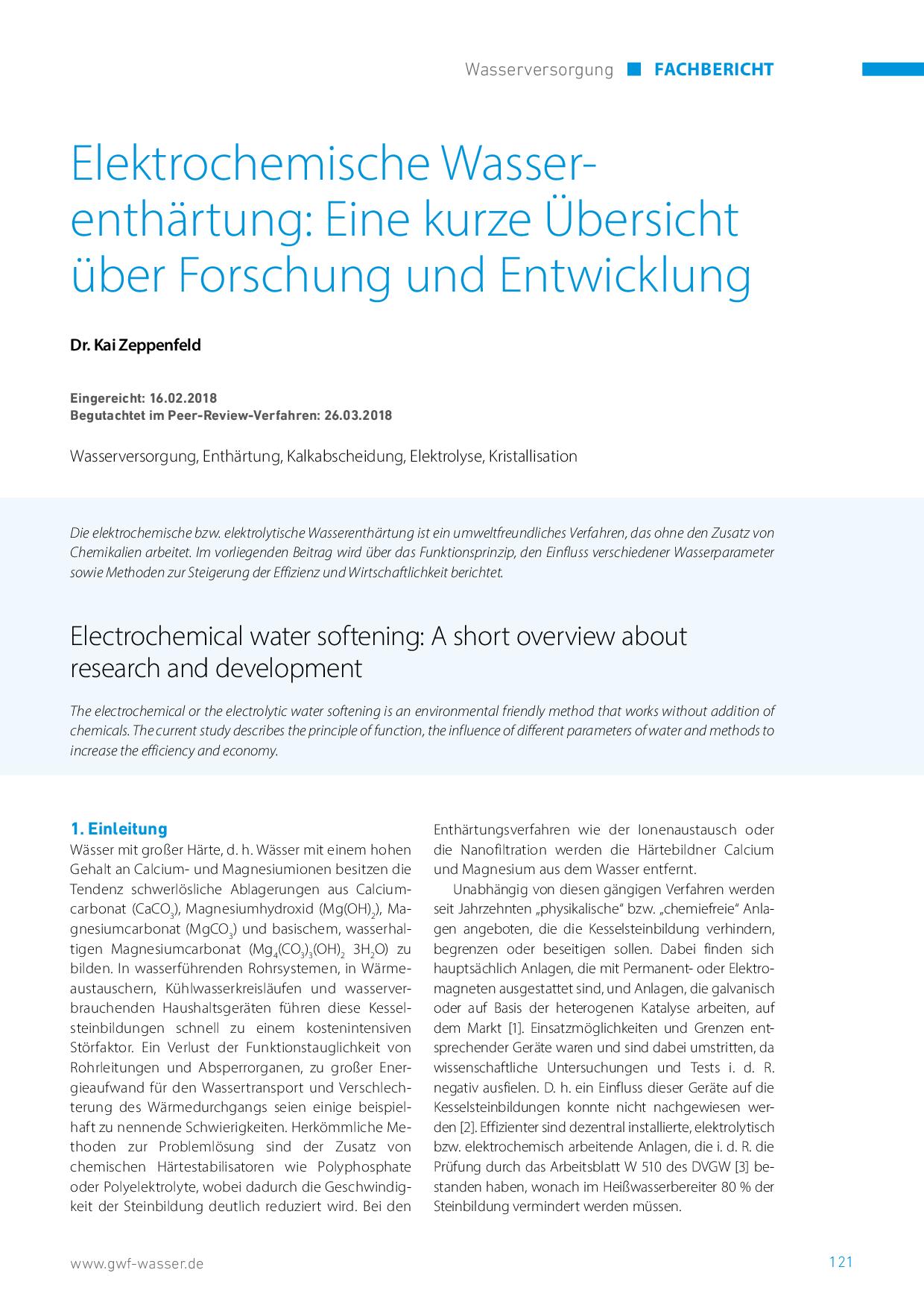 Elektrochemische Wasserenthärtung: Eine kurze Übersicht über Forschung und Entwicklung