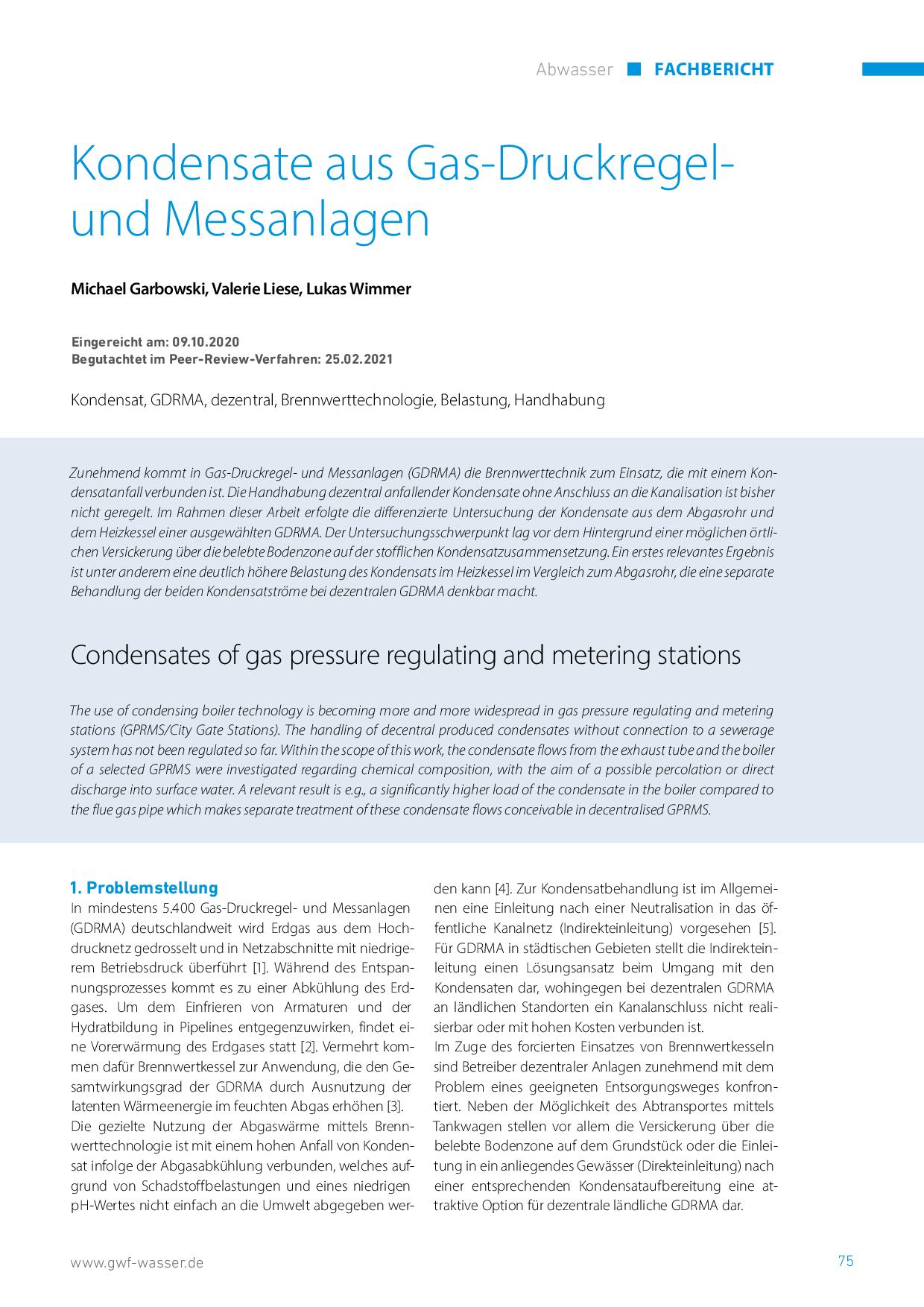Kondensate aus Gas-Druckregel- und Messanlagen