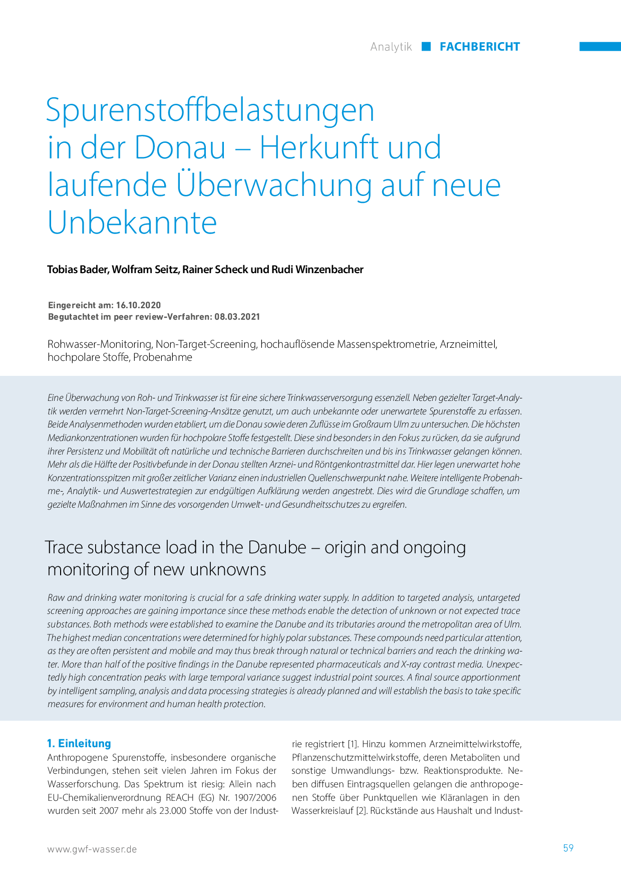 Spurenstoffbelastungen in der Donau – Herkunft und laufende Überwachung auf neue Unbekannte
