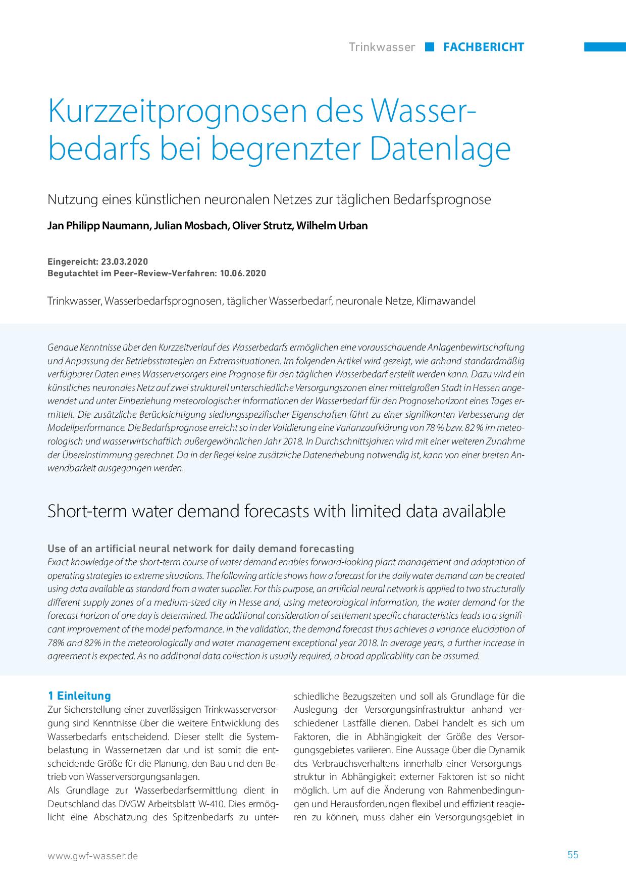 Kurzzeitprognosen des Wasserbedarfs bei begrenzter Datenlage