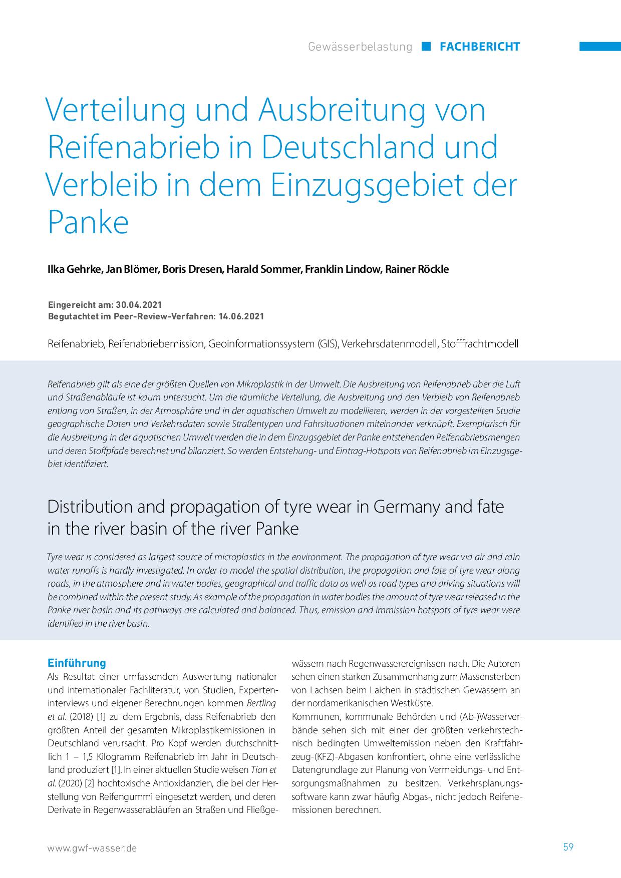 Verteilung und Ausbreitung von Reifenabrieb in Deutschland und Verbleib in dem Einzugsgebiet der Panke