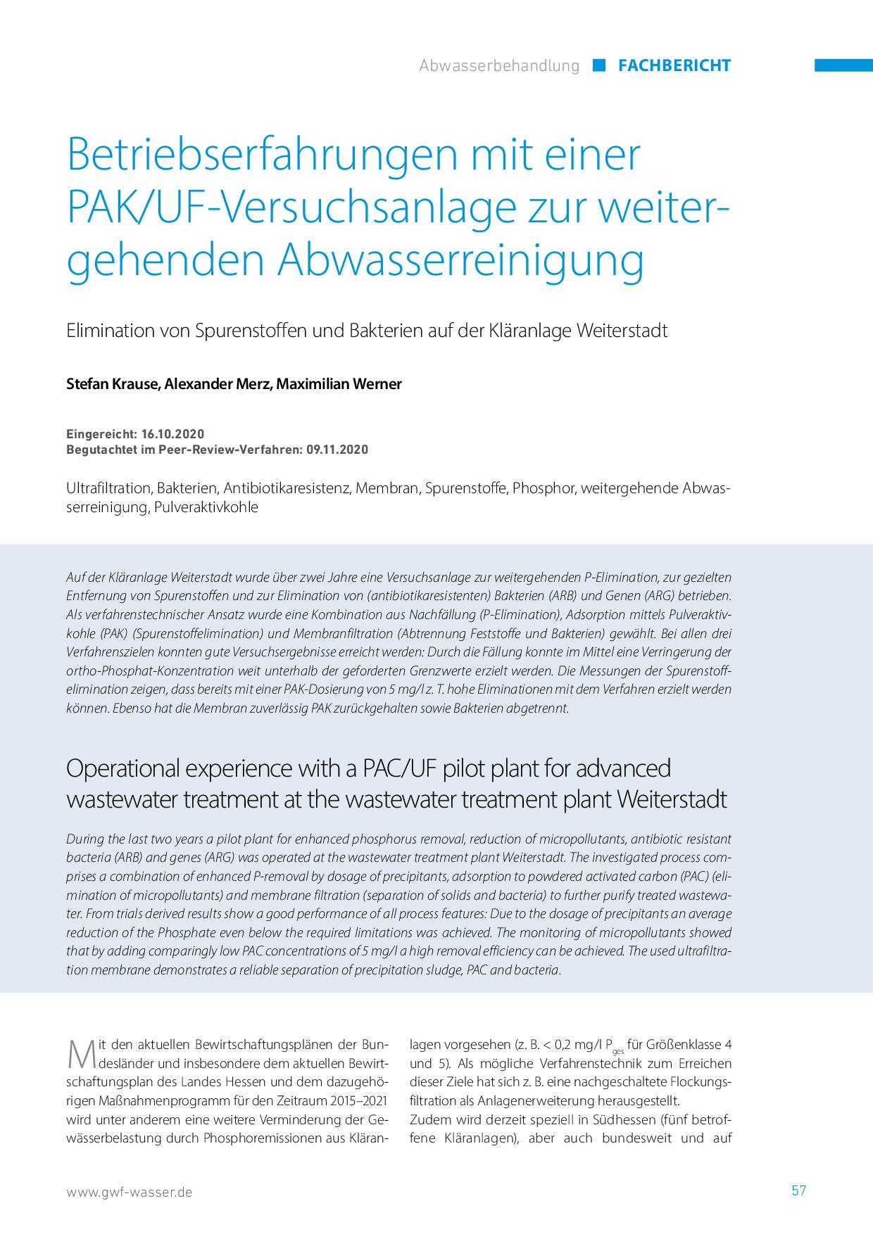 Betriebserfahrungen mit einer PAK/UF-Versuchsanlage zur weitergehenden Abwasserreinigung