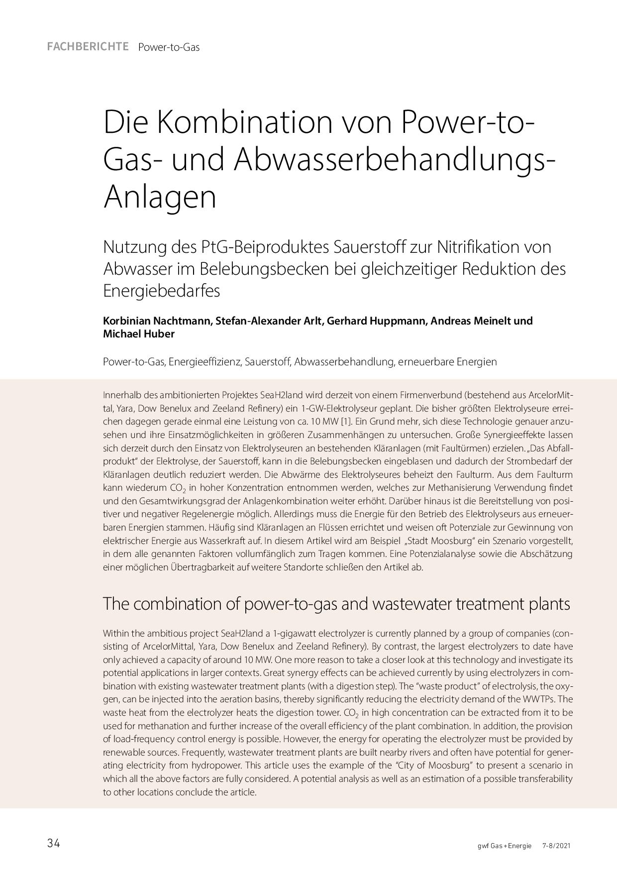 Die Kombination von Power-to-Gas- und Abwasserbehandlungs-Anlagen