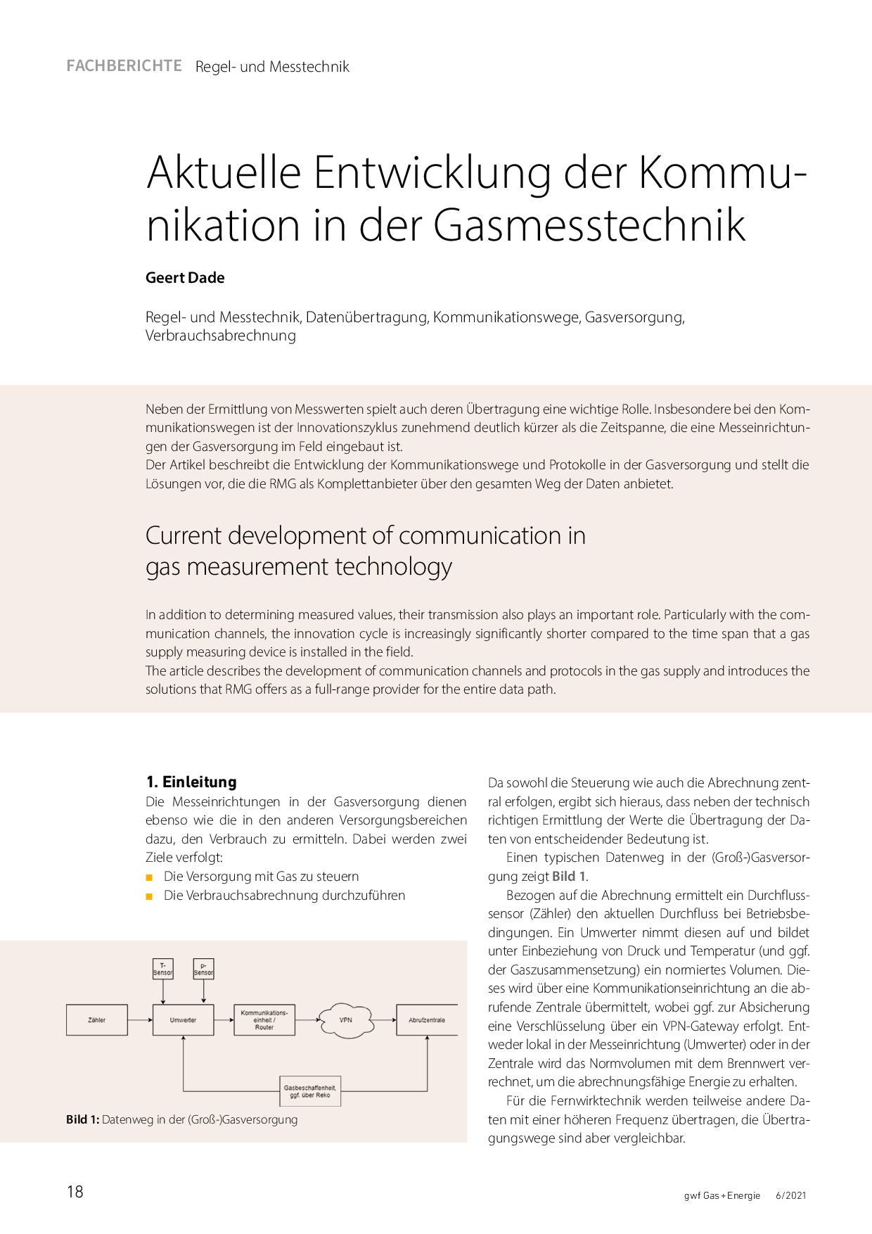 Aktuelle Entwicklung der Kommunikation in der Gasmesstechnik