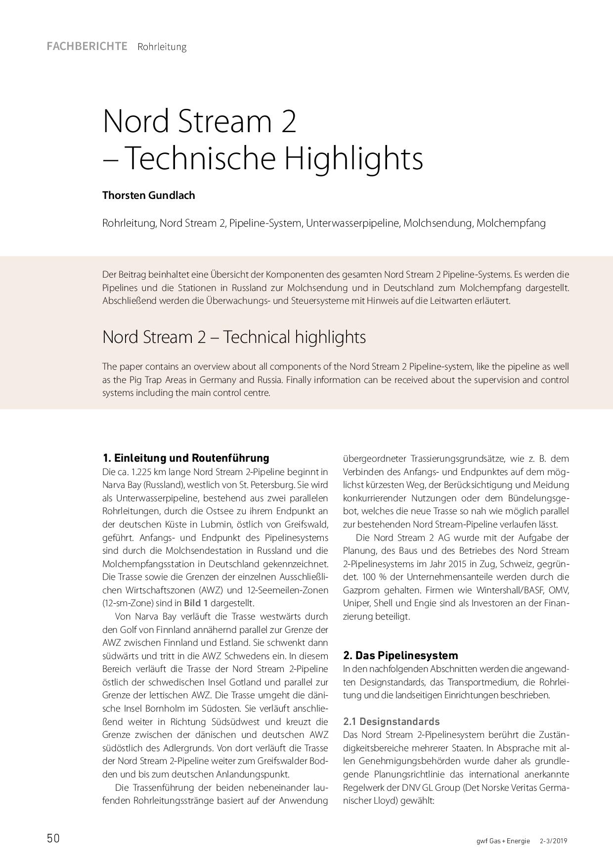 Nord Stream 2 – Technische Highlights