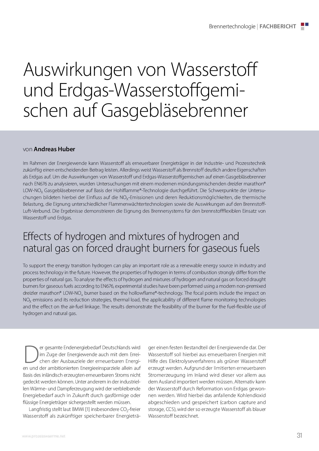 Auswirkungen von Wasserstoff und Erdgas-Wasserstoffgemischen auf Gasgebläsebrenner