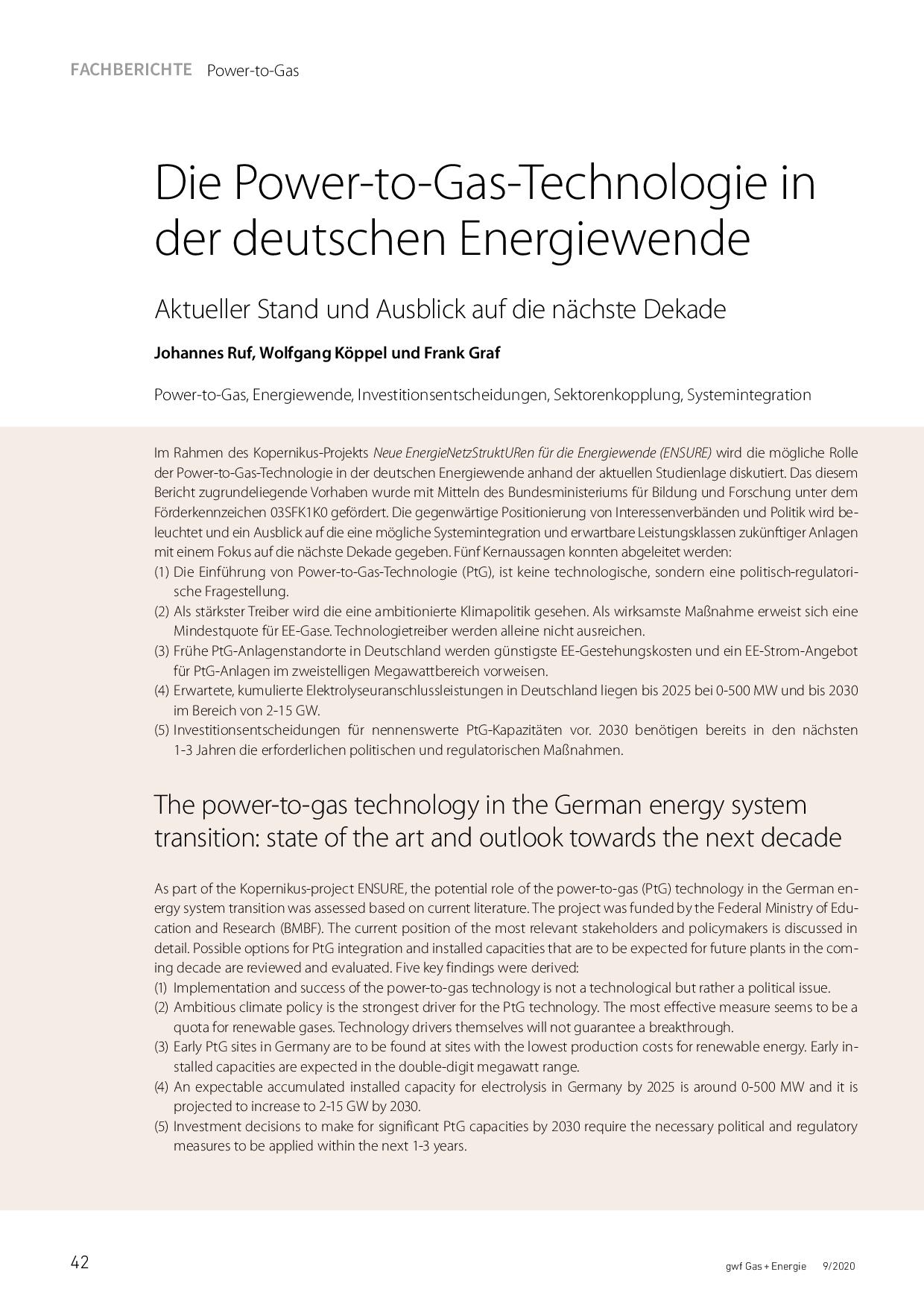Die Power-to-Gas-Technologie in der deutschen Energiewende, Aktueller Stand und Ausblick auf die nächste Dekade,
