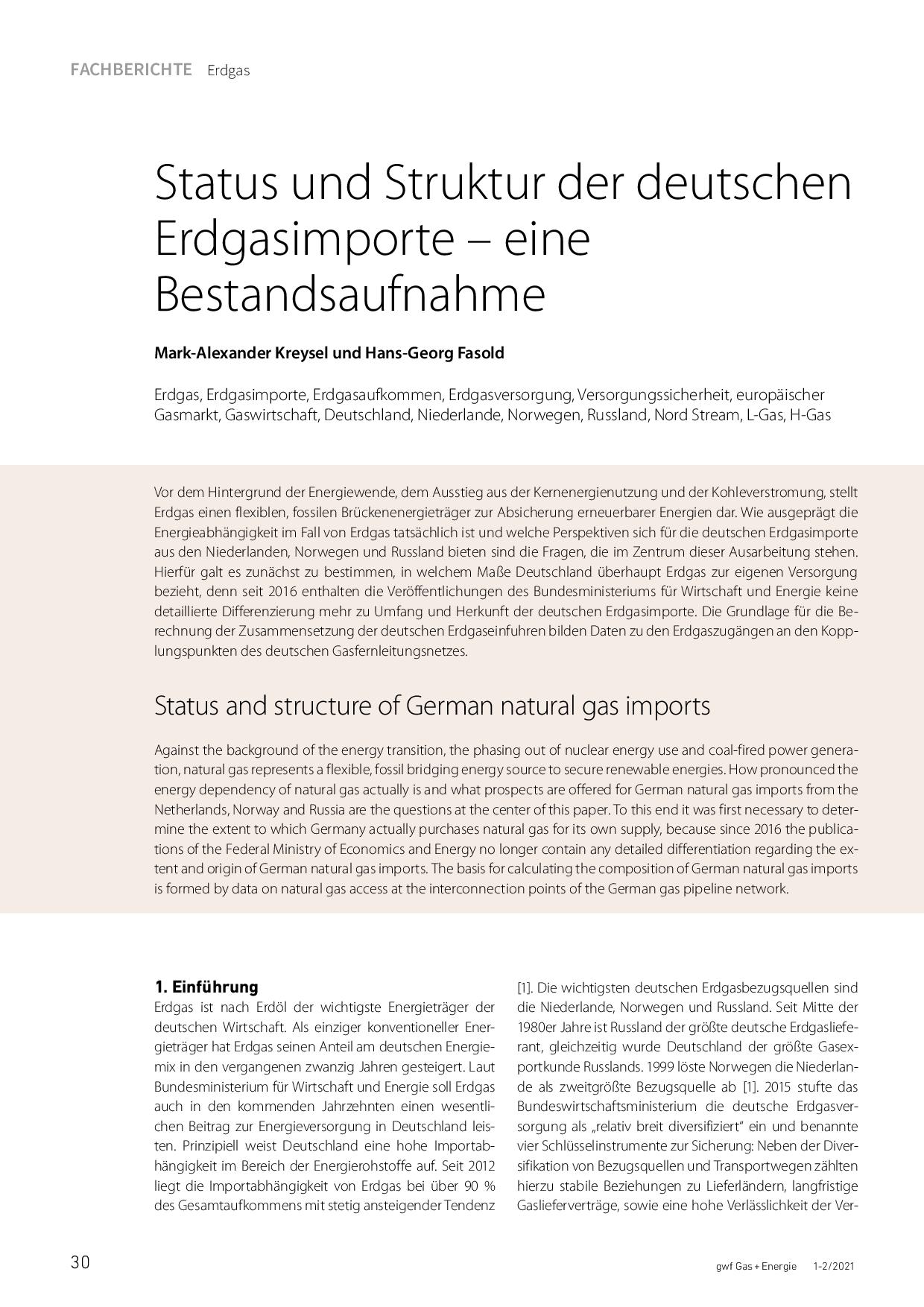 Status und Struktur der deutschen Erdgasimporte – eine Bestandsaufnahme