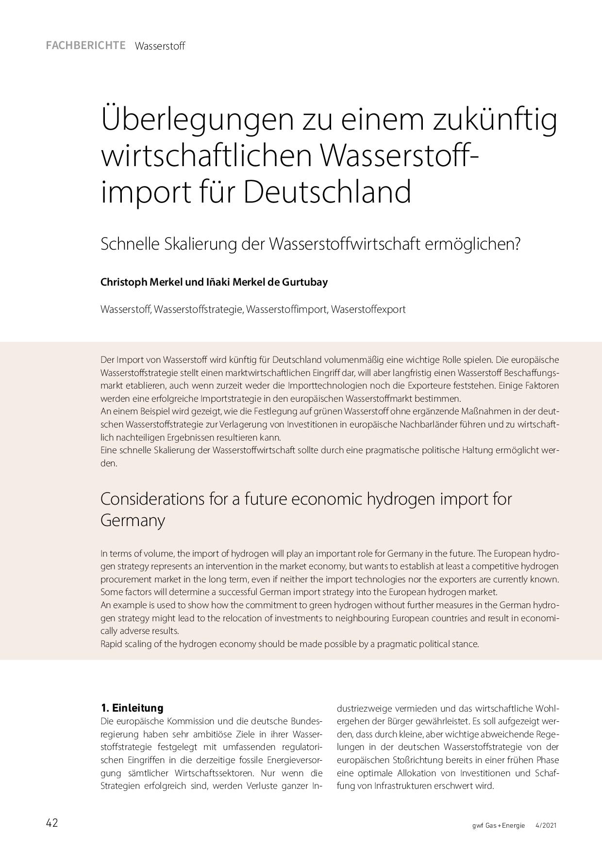 Überlegungen zu einem zukünftig wirtschaftlichen Wasserstoffimport für Deutschland