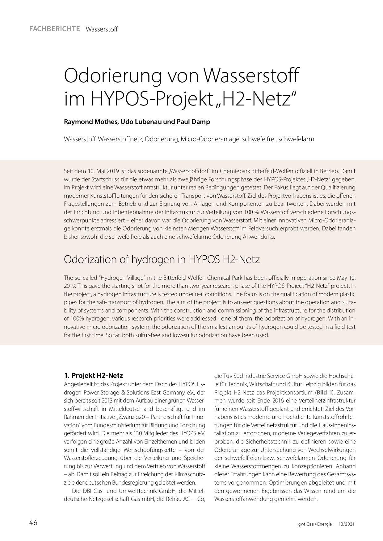 """Odorierung von Wasserstoff imHYPOS-Projekt """"H2-Netz"""""""
