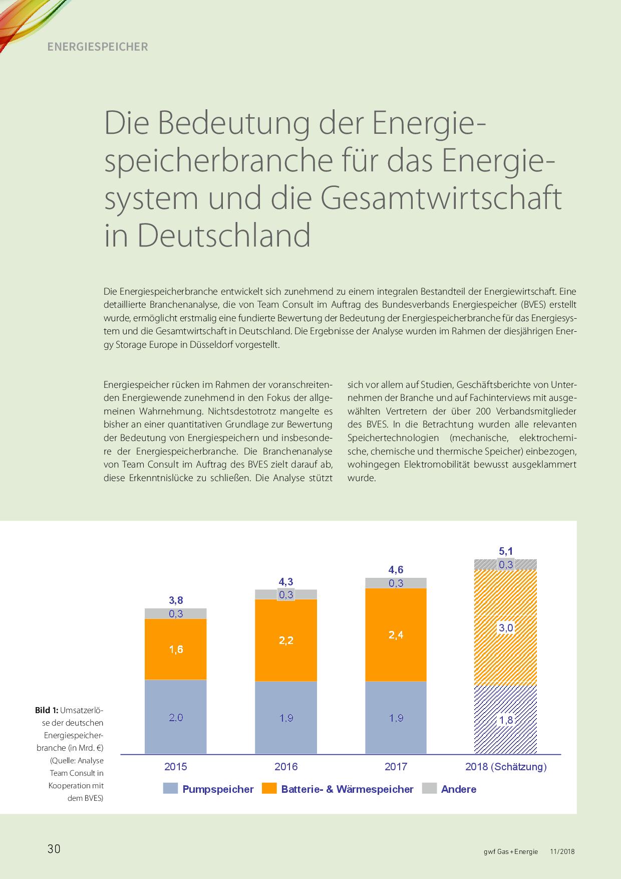 Die Bedeutung der Energiespeicherbranche für das Energiesystem und die Gesamtwirtschaft in Deutschland