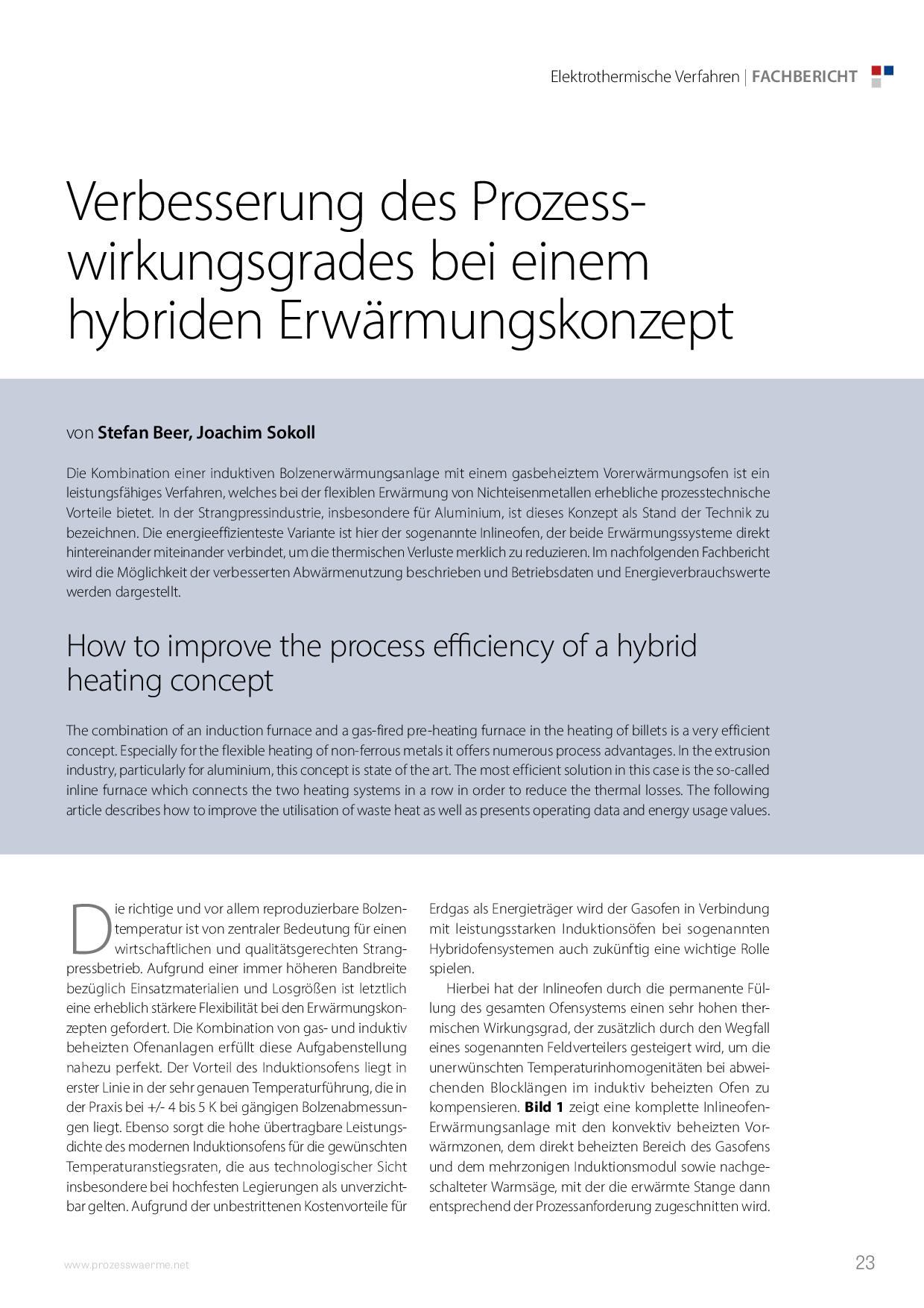 Verbesserung des Prozesswirkungsgrades bei einem hybriden Erwärmungskonzept