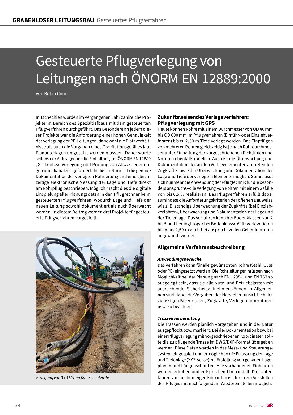 Gesteuerte Pflugverlegung von Leitungen nach ÖNORM EN 12889:2000