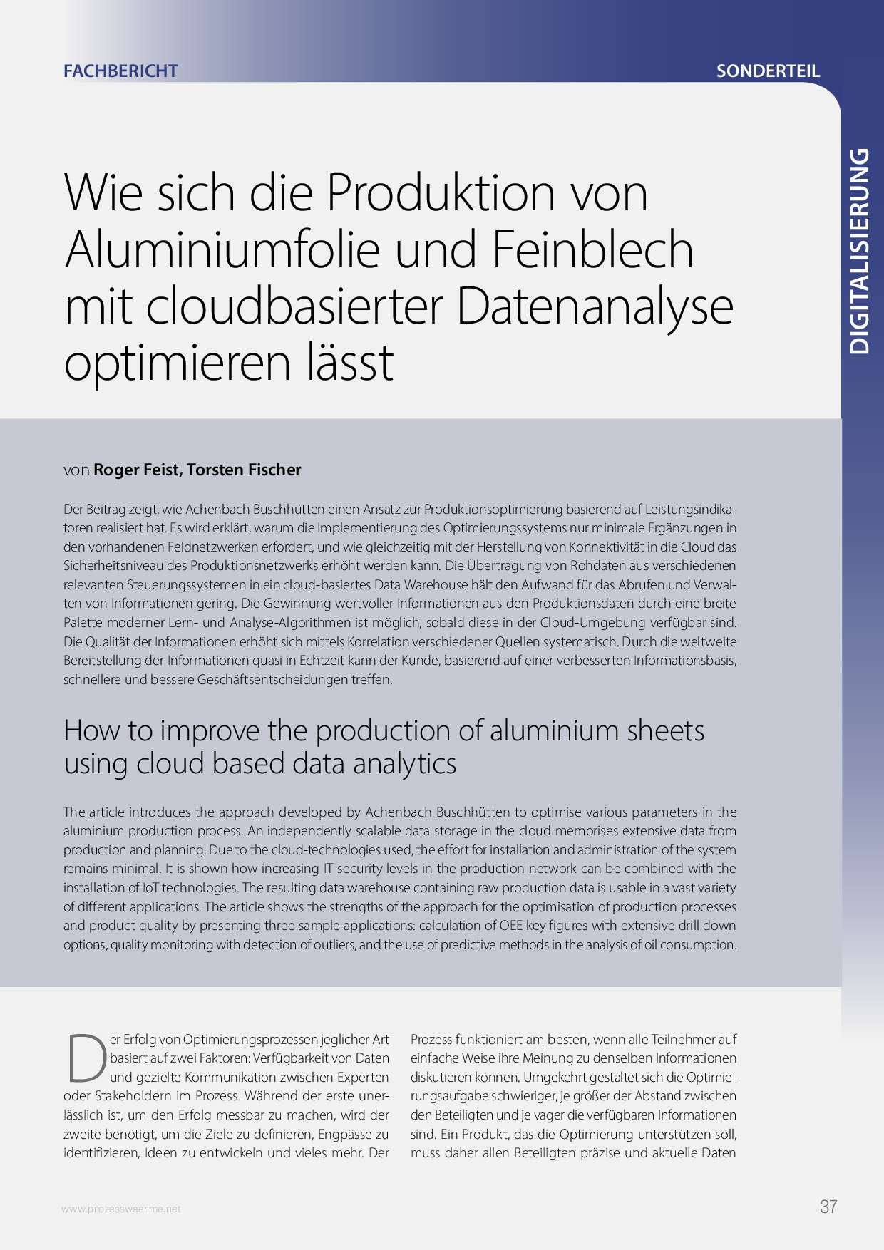 Wie sich die Produktion von Aluminiumfolie und Feinblech mit cloudbasierter Datenanalyse optimieren lässt