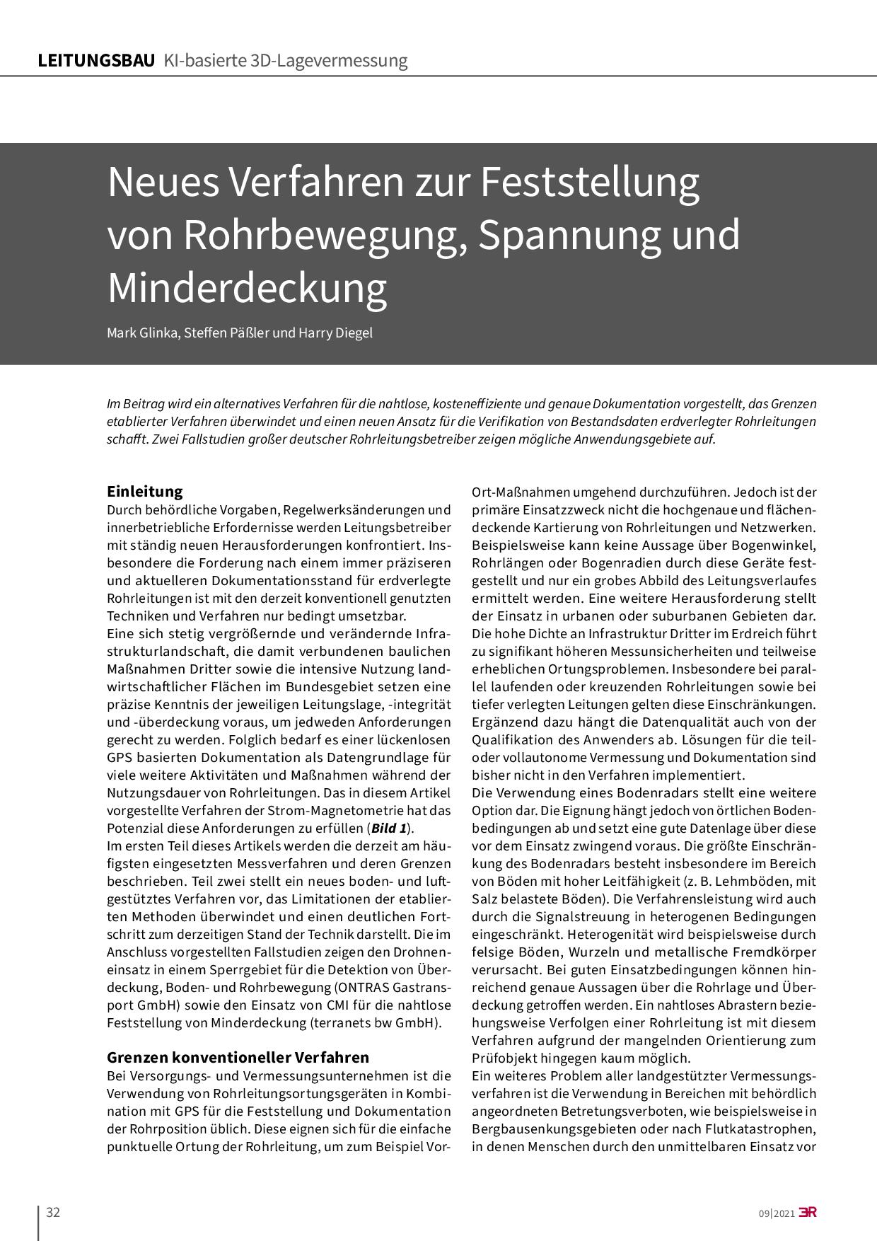 Neues Verfahren zur Feststellung von Rohrbewegung, Spannung und Minderdeckung