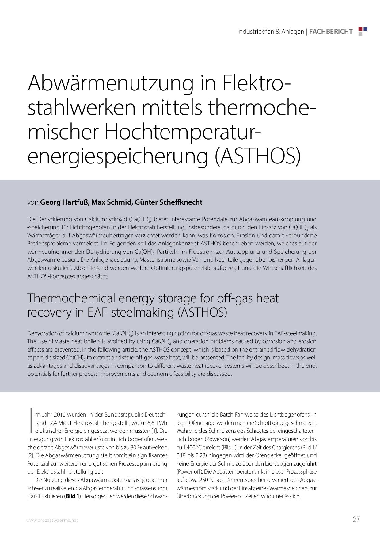 Abwärmenutzung in Elektrostahlwerken mittels thermochemischer Hochtemperaturenergiespeicherung (ASTHOS)