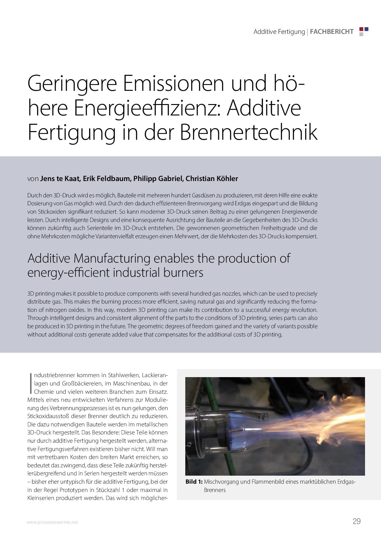 Geringere Emissionen und höhere Energieeffizienz: Additive Fertigung in der Brennertechnik