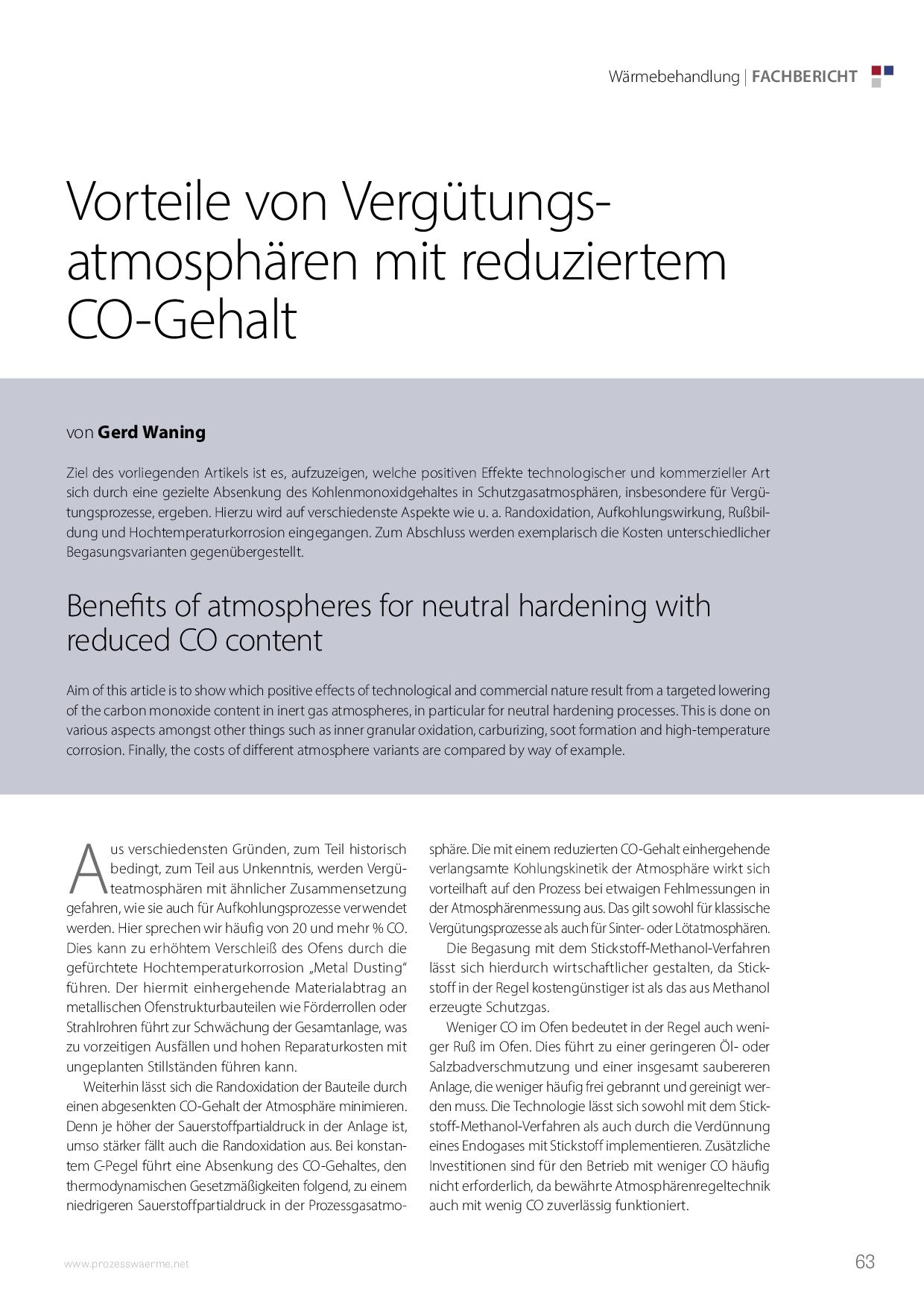 Vorteile von Vergütungsatmosphären mit reduziertem CO-Gehalt  Kopieren