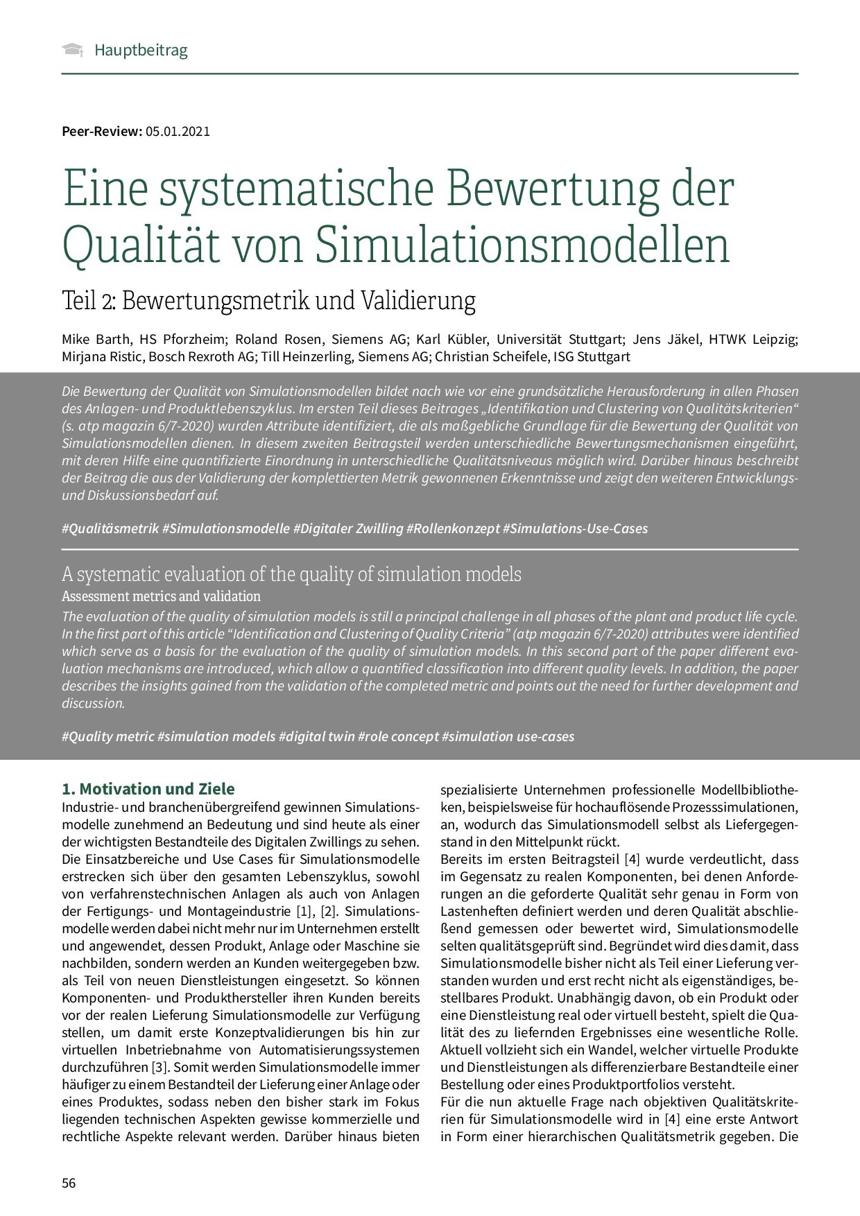 Eine systematische Bewertung der Qualität von Simulationsmodellen