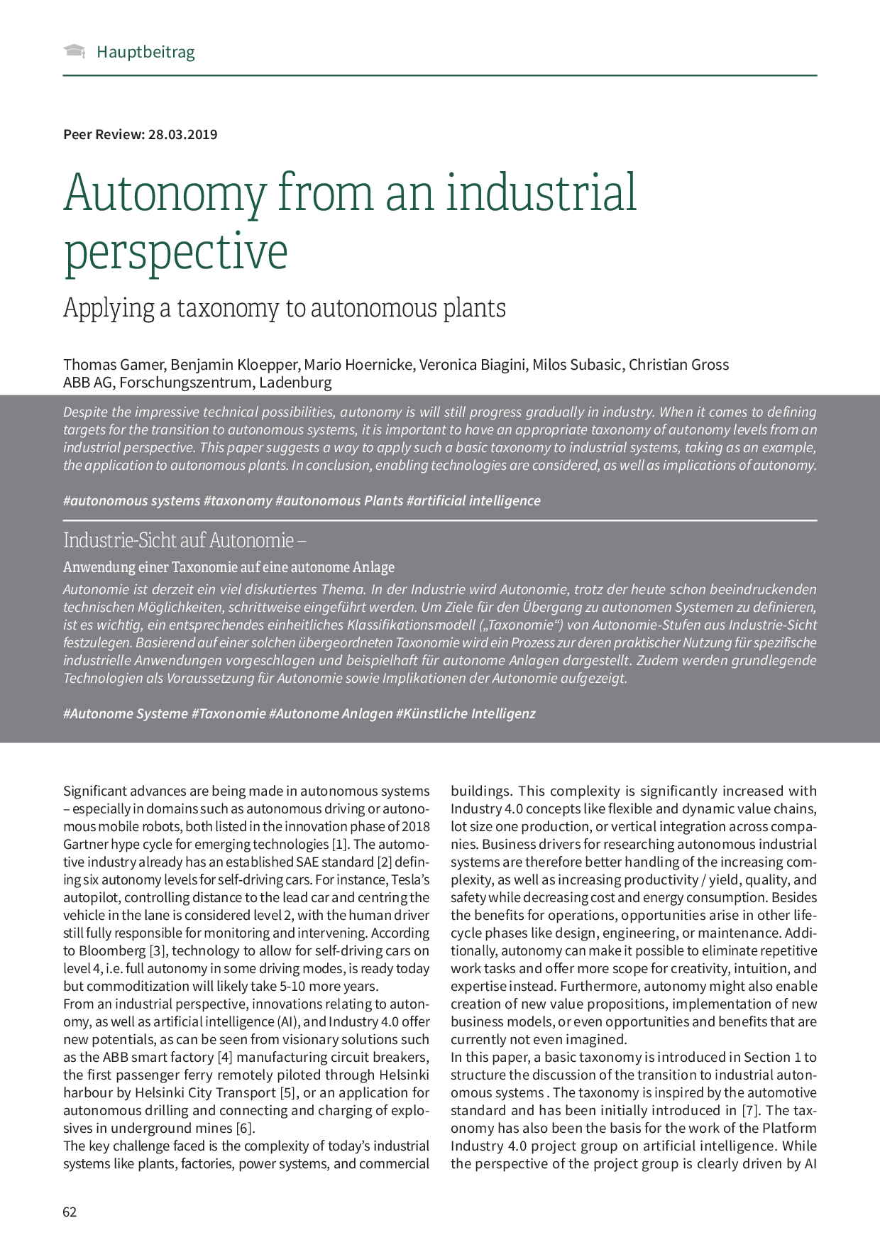 Autonomy from an industrial perspective