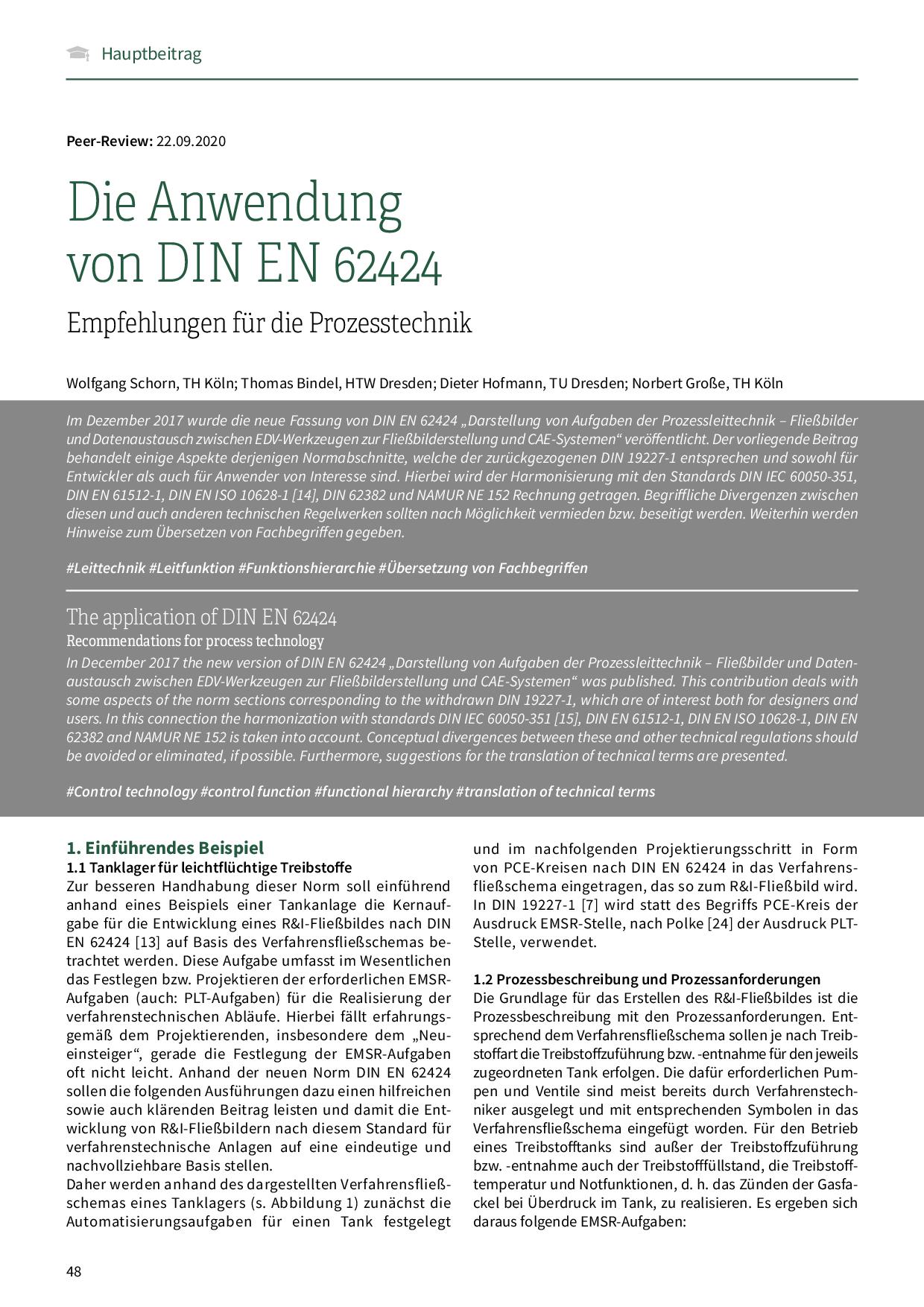 Die Anwendung von DIN EN 62424