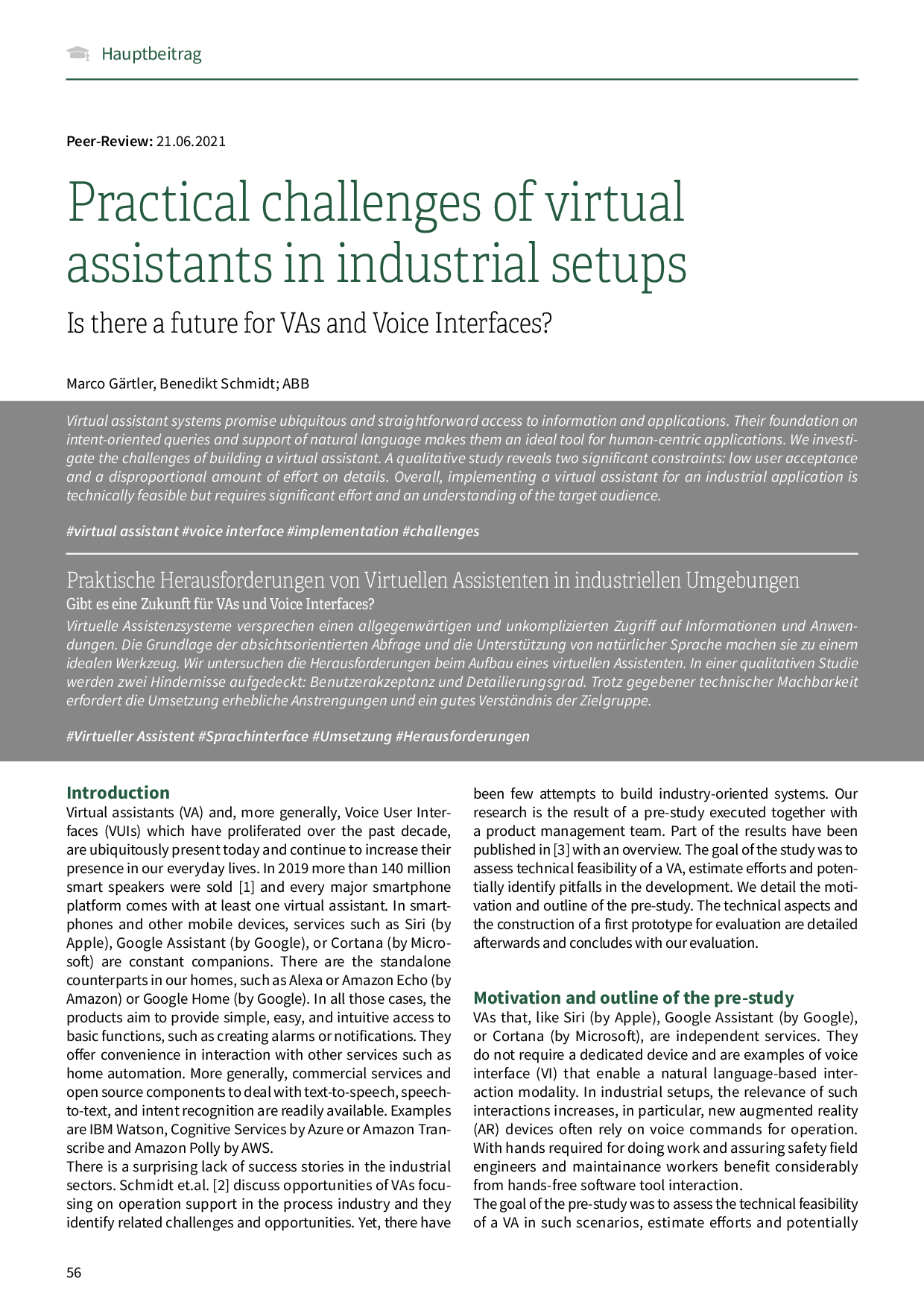 Practical challenges of virtual assistants in industrial setups