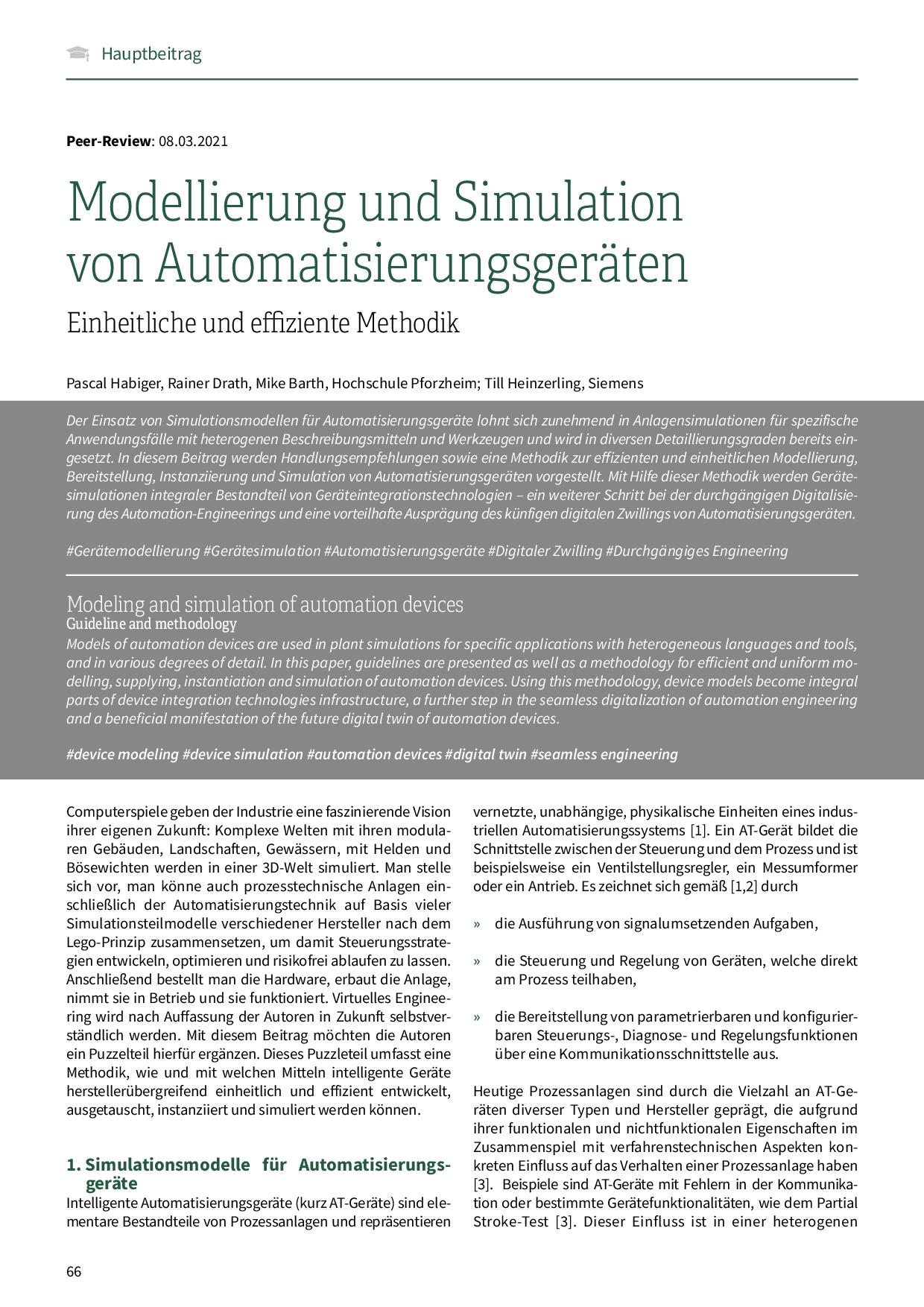 Modellierung und Simulation von Automatisierungsgeräten