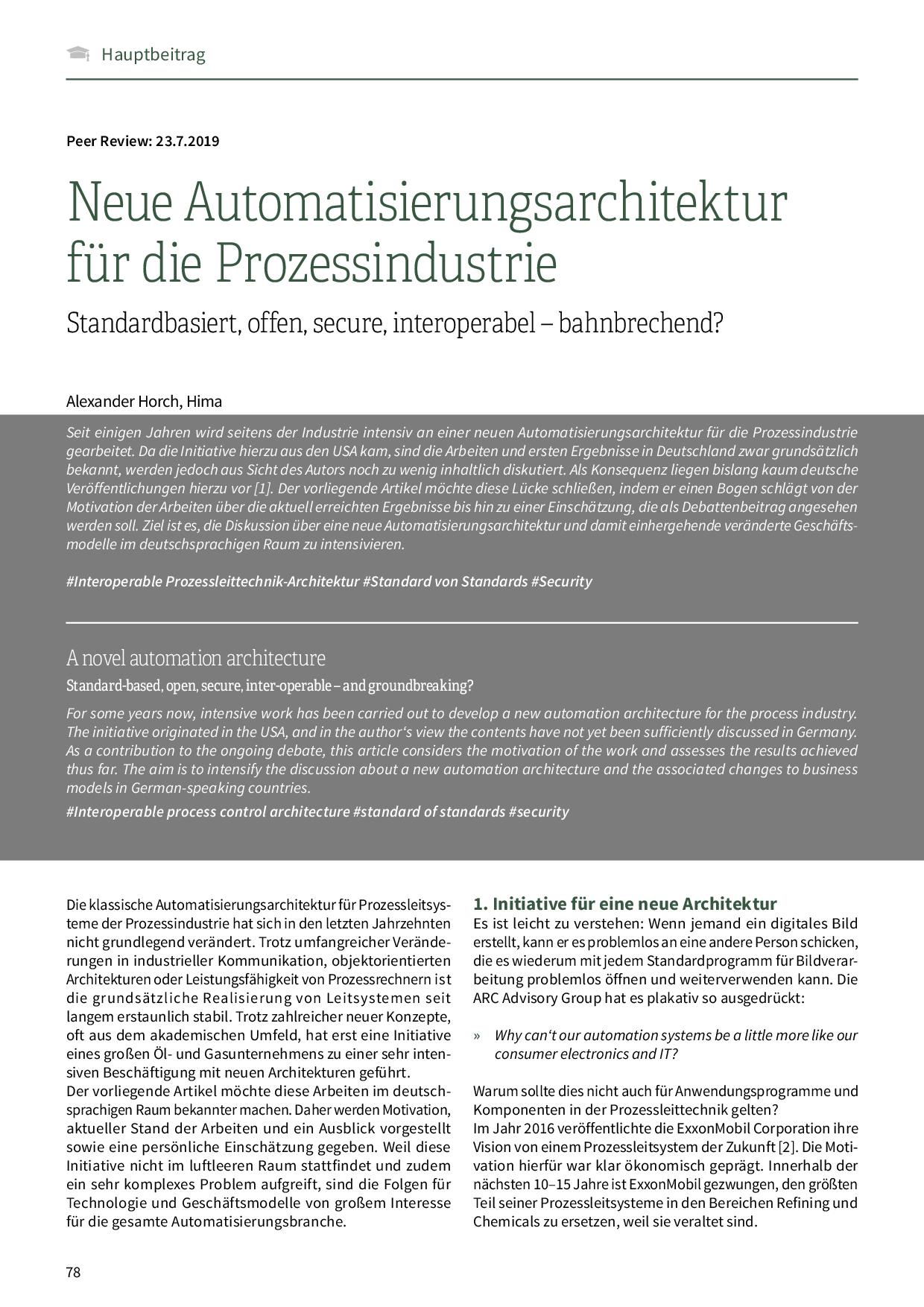 Neue Automatisierungsarchitektur für die Prozessindustrie