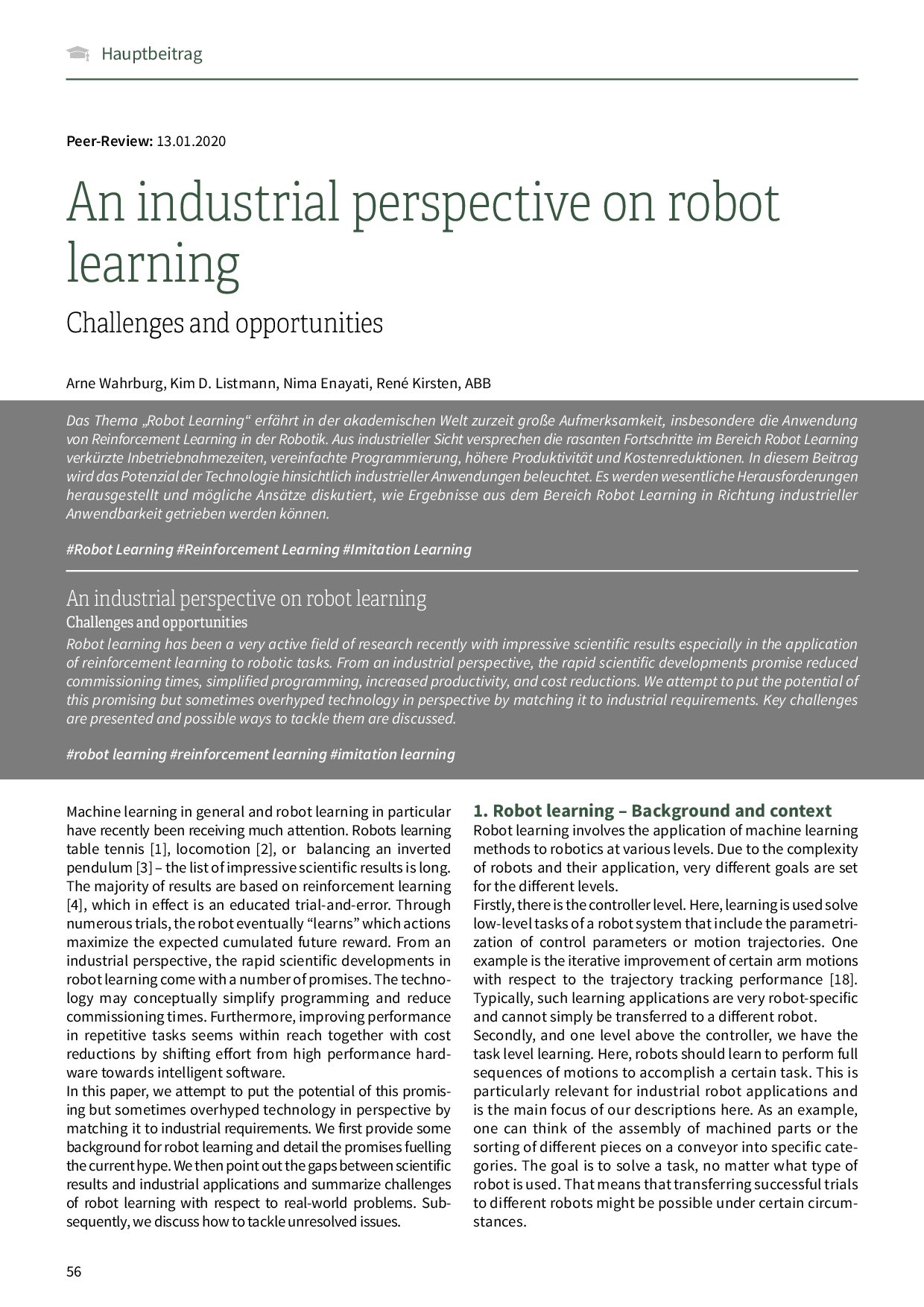 An industrial perspective on robot learning