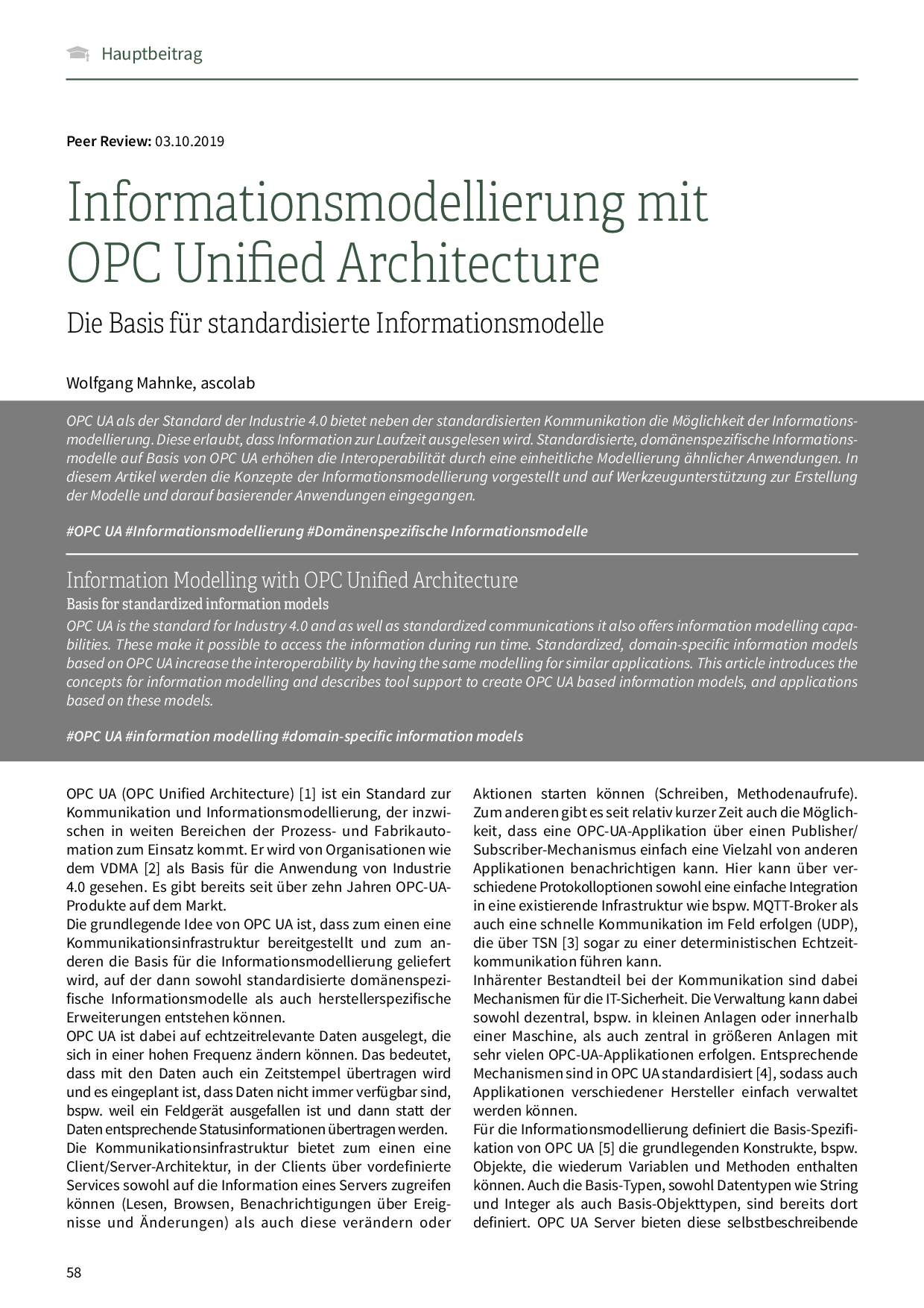 Informationsmodellierung mit OPC Unified Architecture