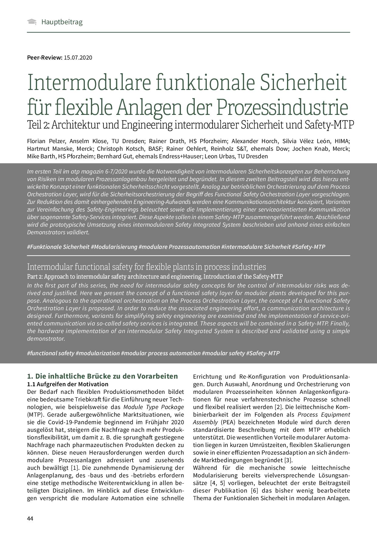 Intermodulare funktionale Sicherheit für flexible Anlagen der Prozessindustrie
