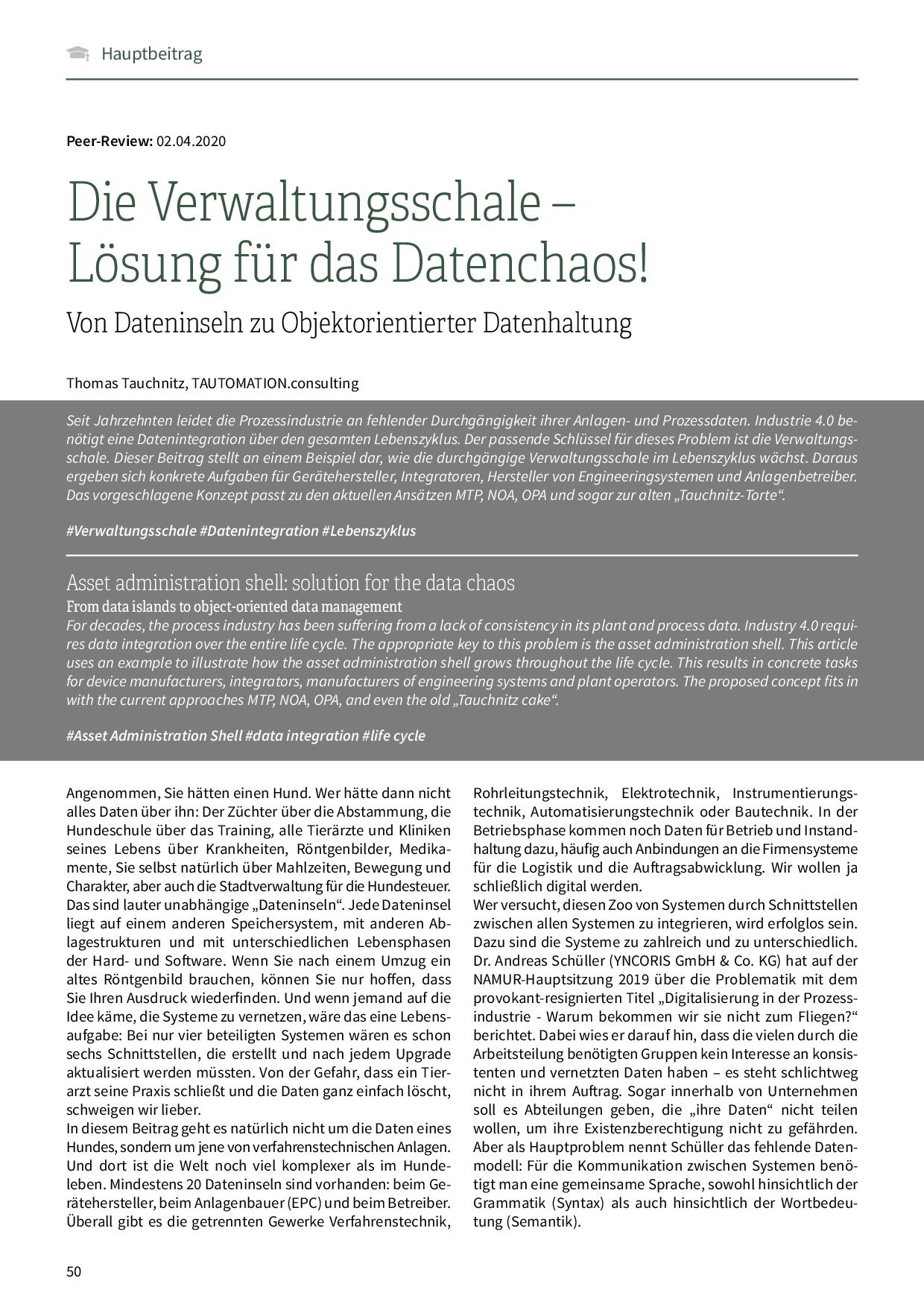 Die Verwaltungsschale – Lösung für das Datenchaos!