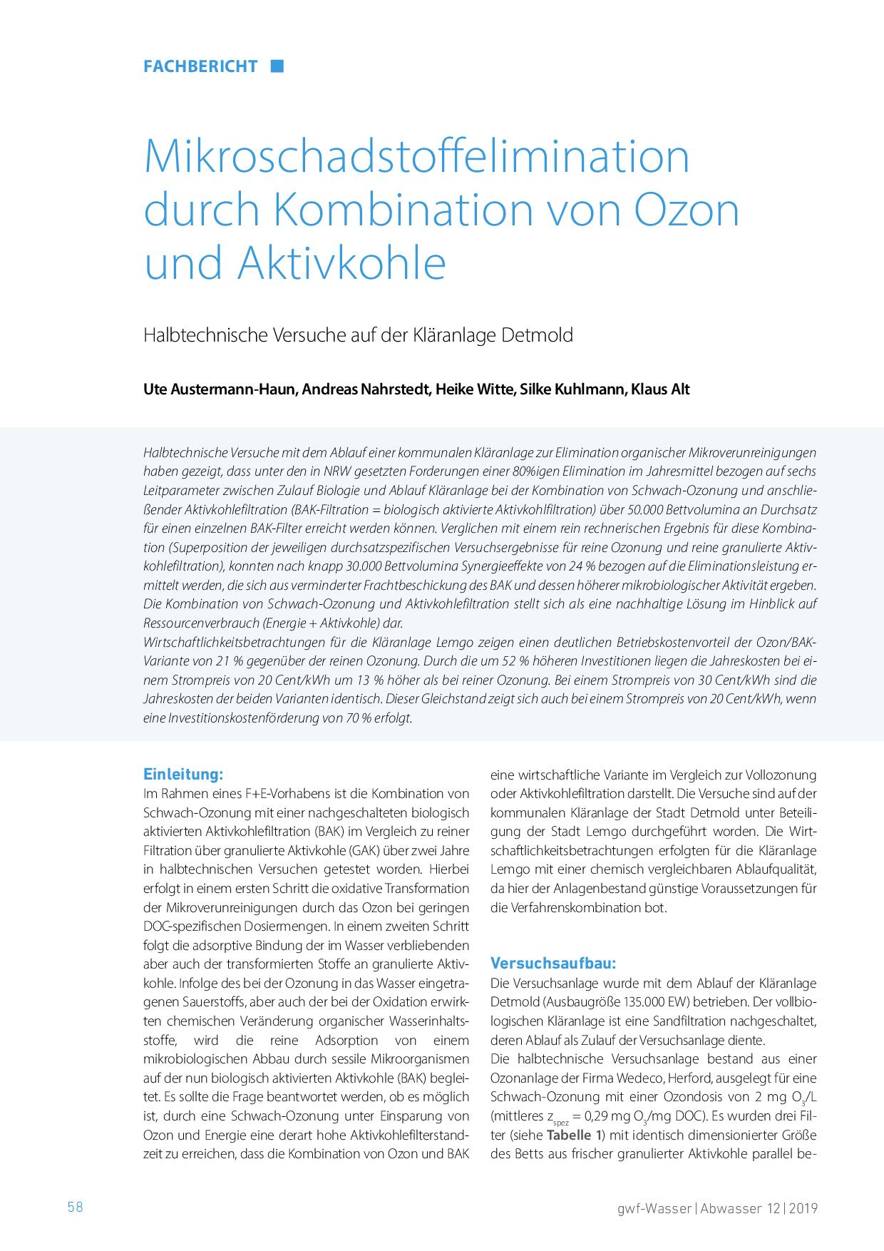 Mikroschadstoffelimination durch Kombination von Ozon und Aktivkohle