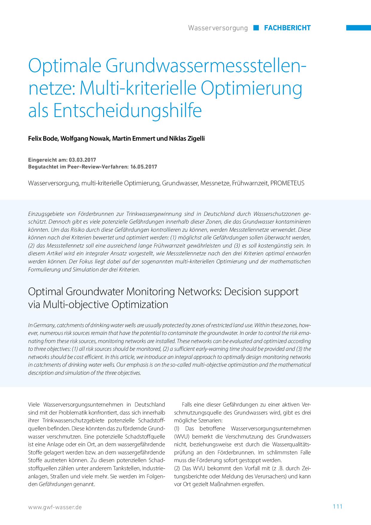 Optimale Grundwassermessstellennetze: Multi-kriterielle Optimierung als Entscheidungshilfe